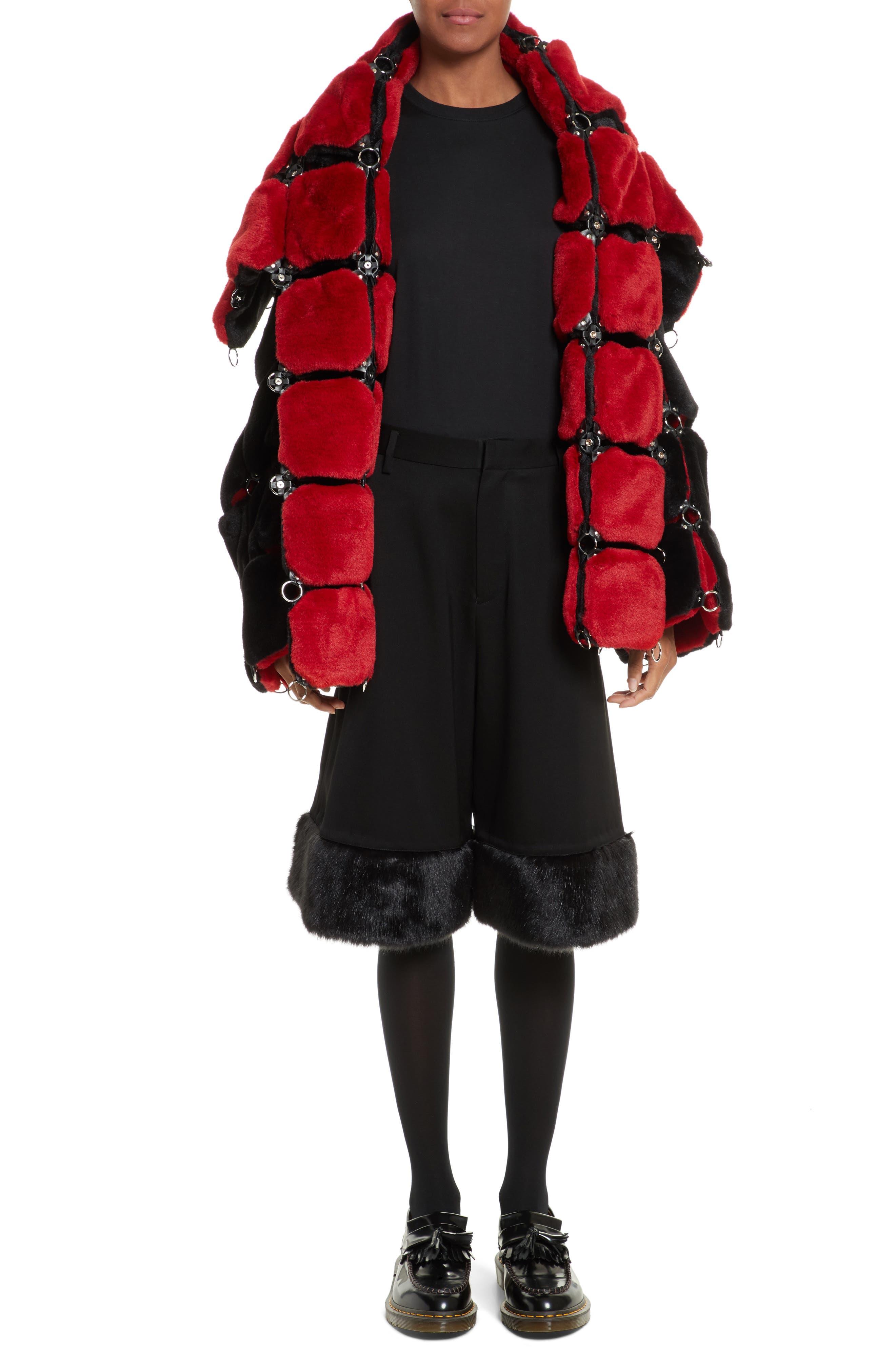 Faux Fur Coat with Chain Mail Detail,                             Alternate thumbnail 7, color,                             005