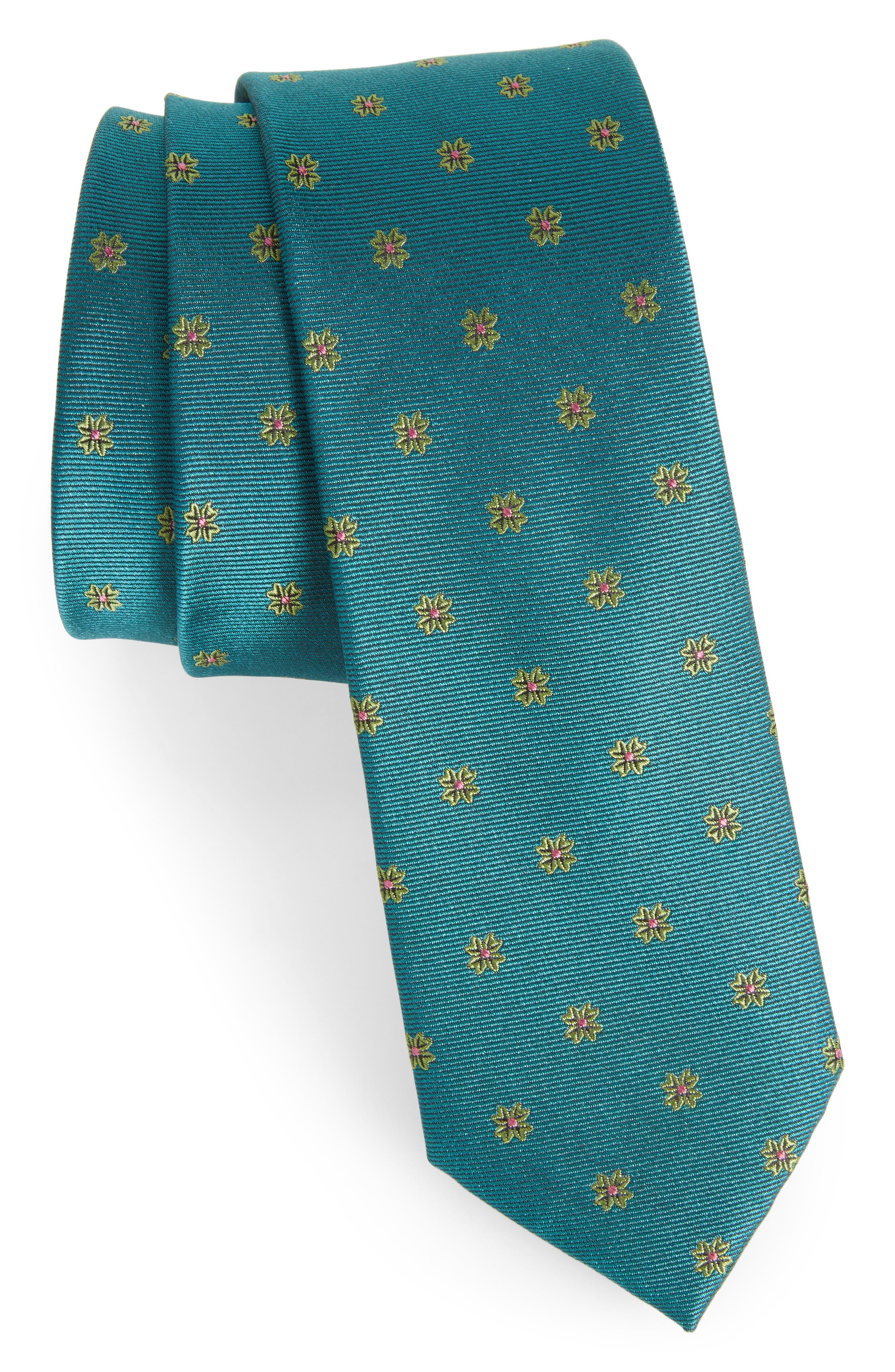 Floral Span Medallion Silk Tie,                             Main thumbnail 3, color,