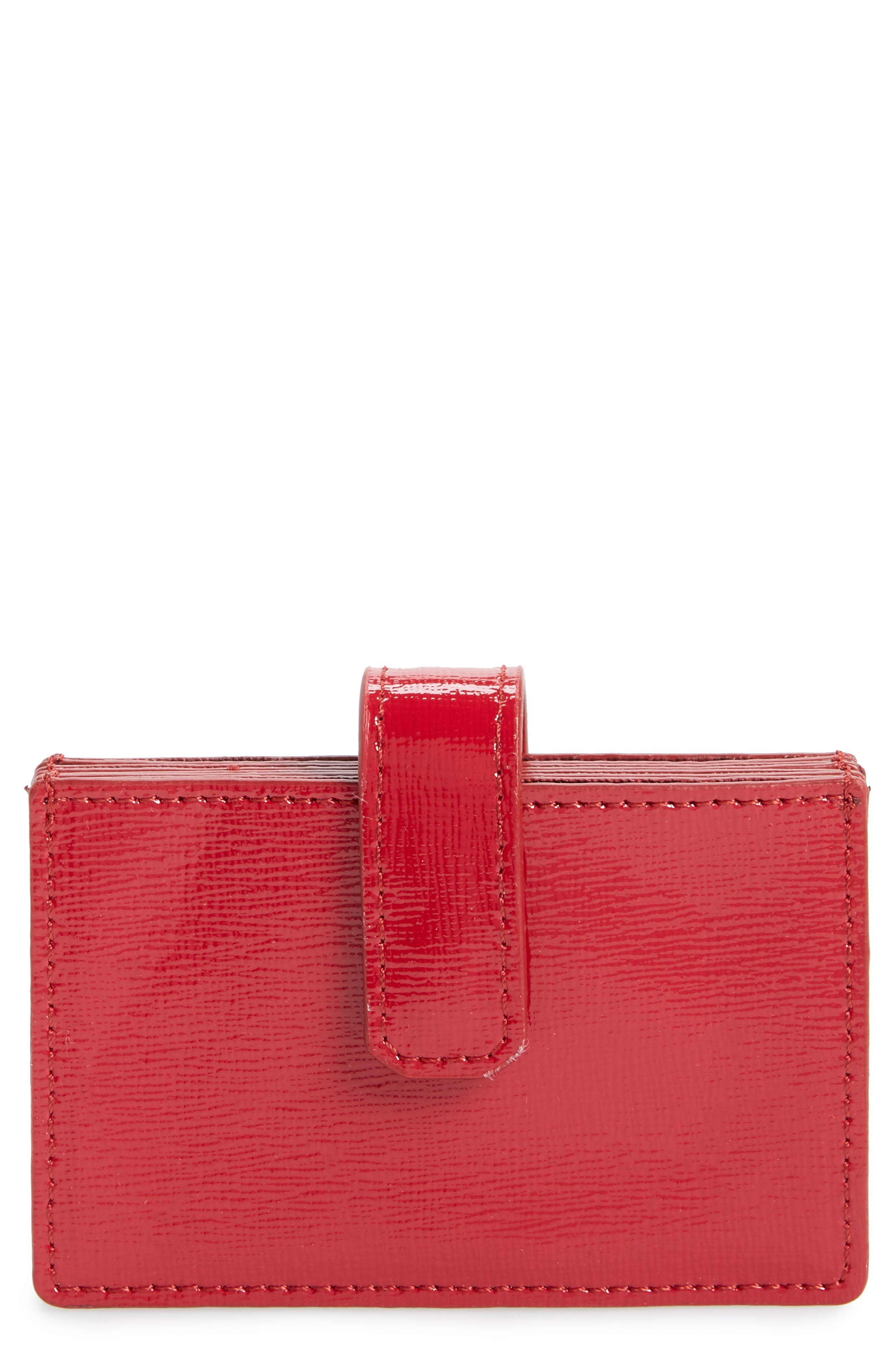 Accordion Leather Card Case,                             Main thumbnail 1, color,                             RED JESTER