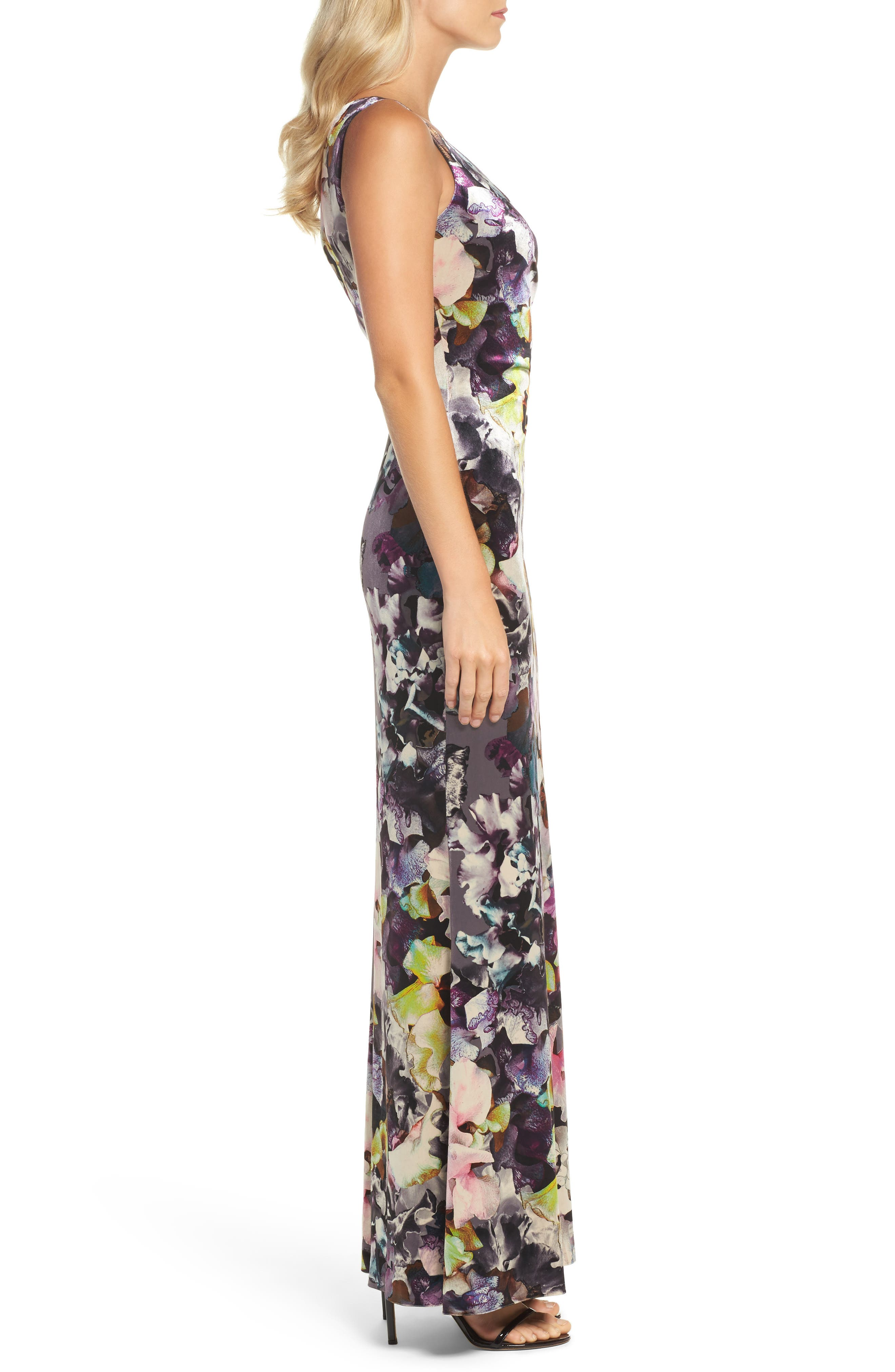 Floral Velvet Gown,                             Alternate thumbnail 3, color,                             590