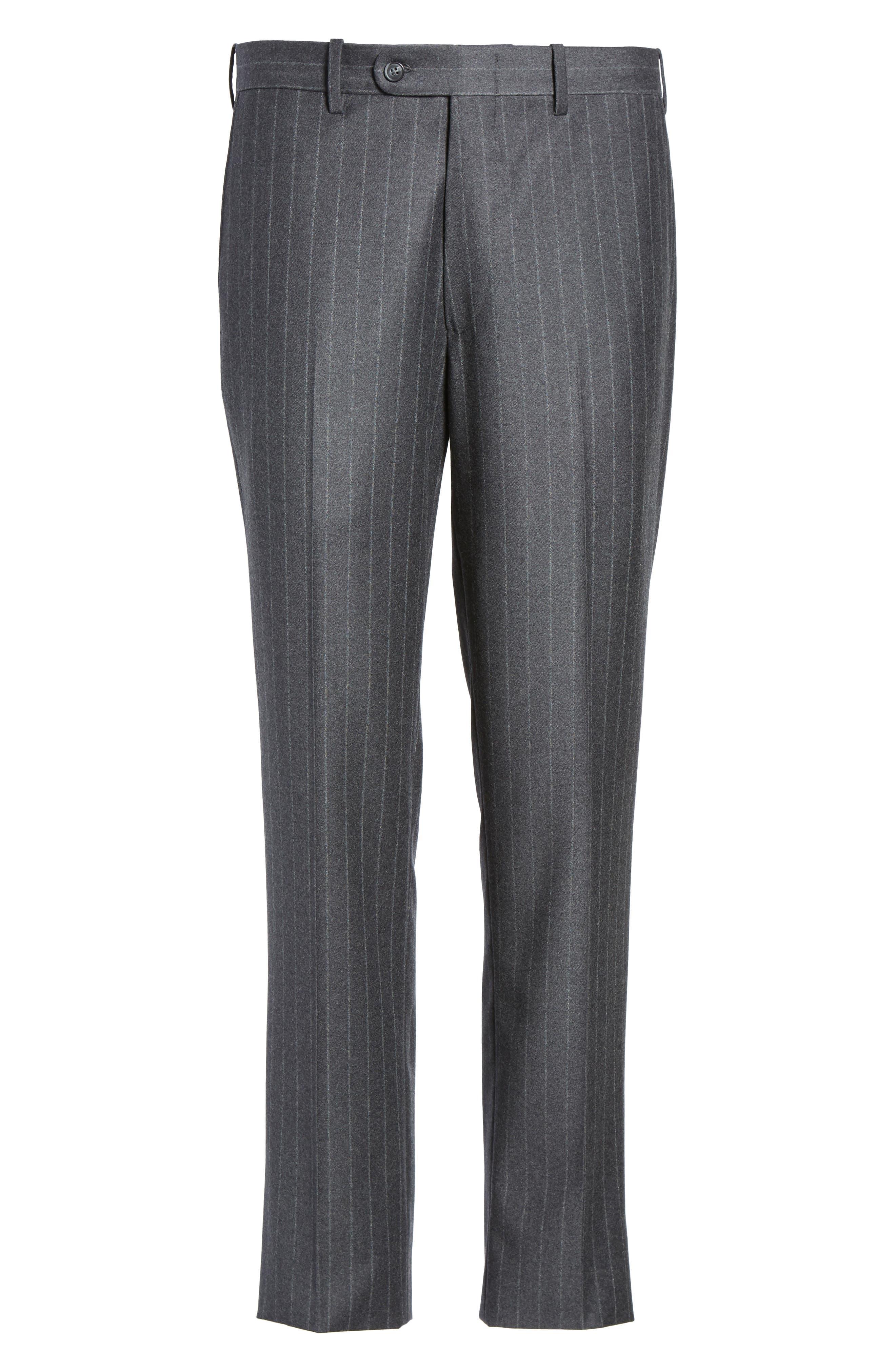 Flat Front Chalk Stripe Wool Trousers,                             Alternate thumbnail 6, color,                             030