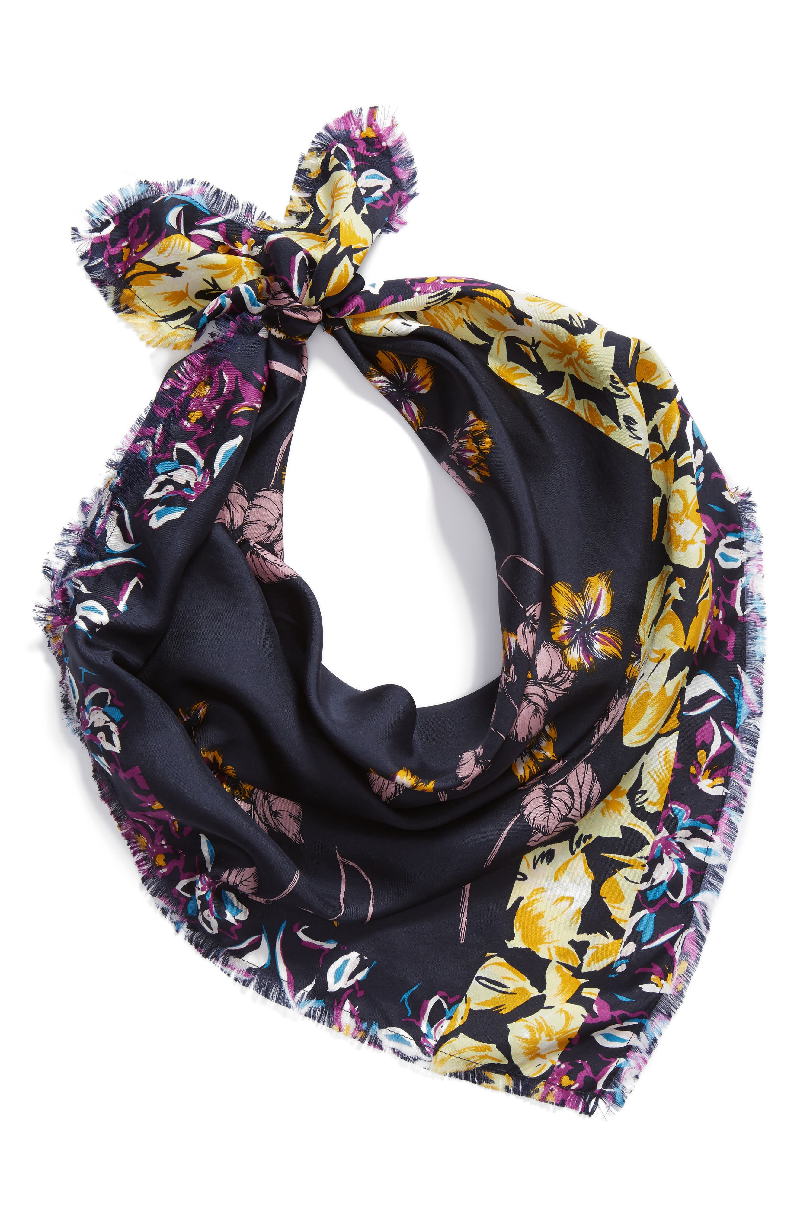 Floral Print Silk Twill Scarf,                             Alternate thumbnail 2, color,                             YELLOW MIRIAM PRINT