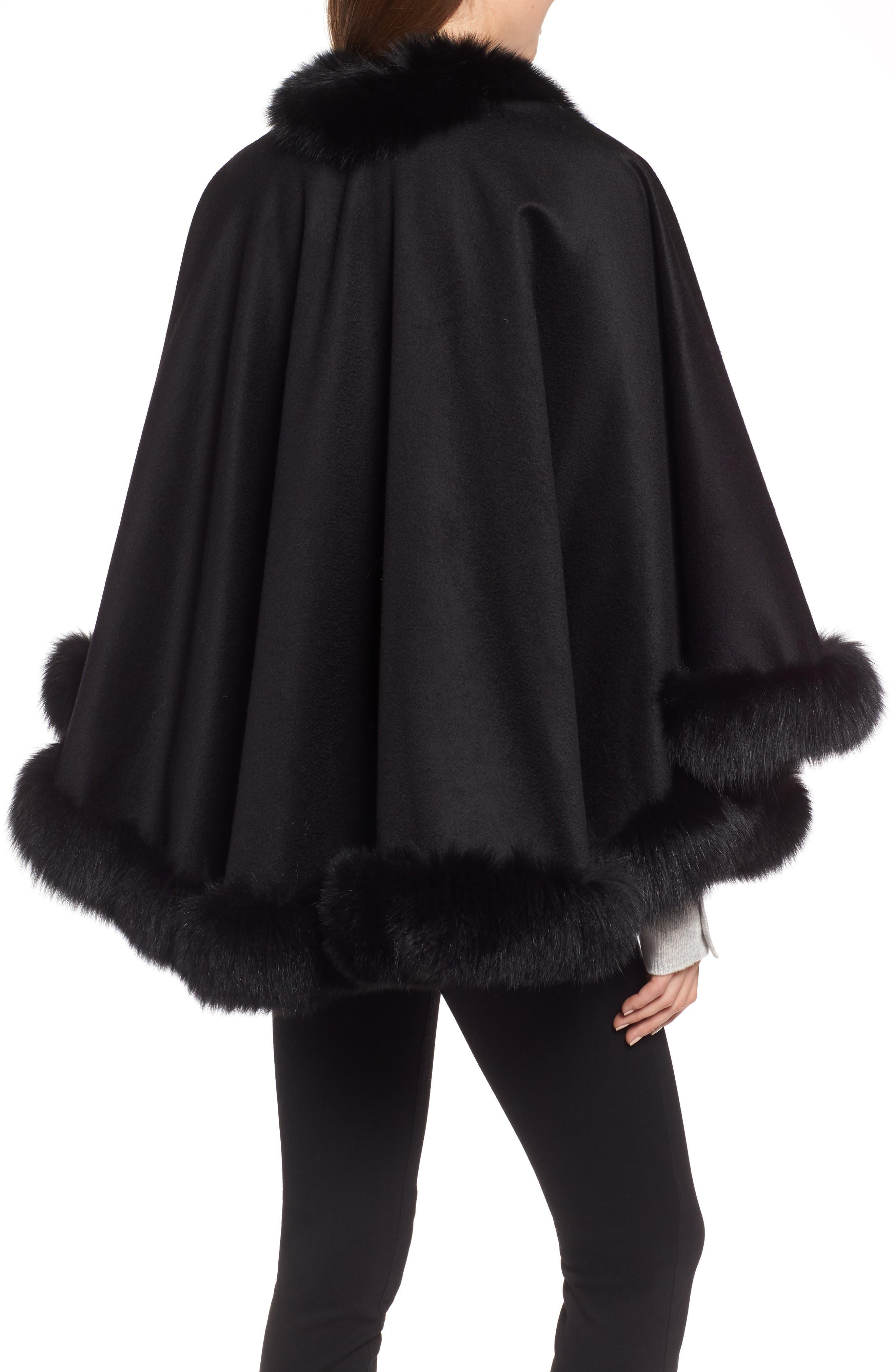 Petite Genuine Fox Fur Trim Cashmere Cape,                             Alternate thumbnail 2, color,                             BLACK
