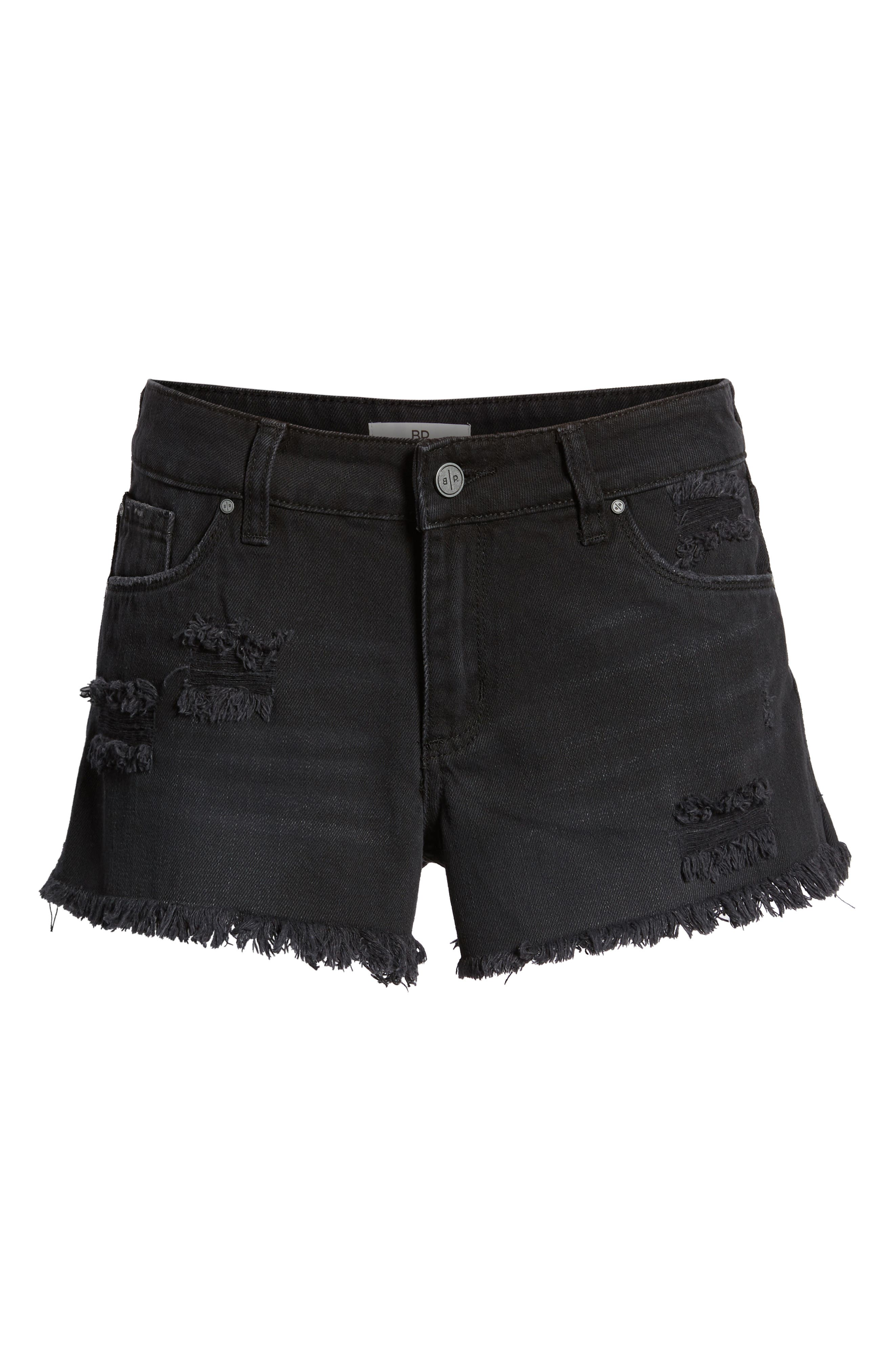 Fray Hem Denim Shorts,                             Alternate thumbnail 7, color,                             001
