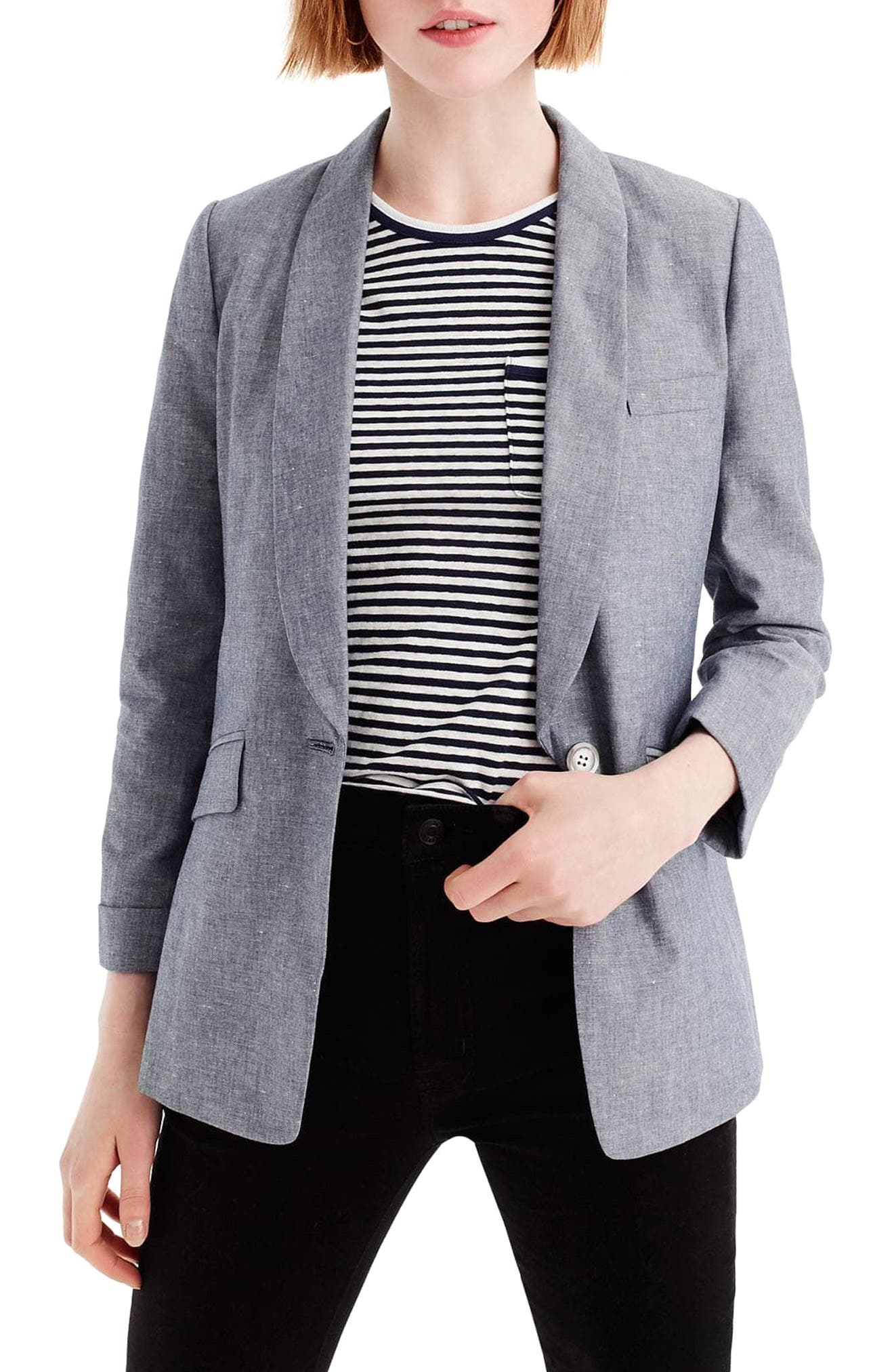 Unstructured Shawl Collar Cotton Linen Blazer,                             Main thumbnail 3, color,