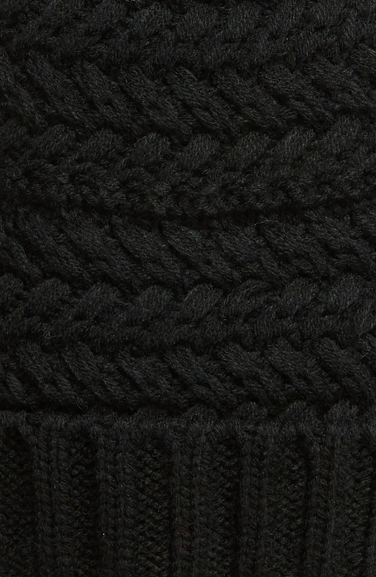 Cable Knit Beanie with Faux Fur Pom,                             Alternate thumbnail 2, color,                             BLACK