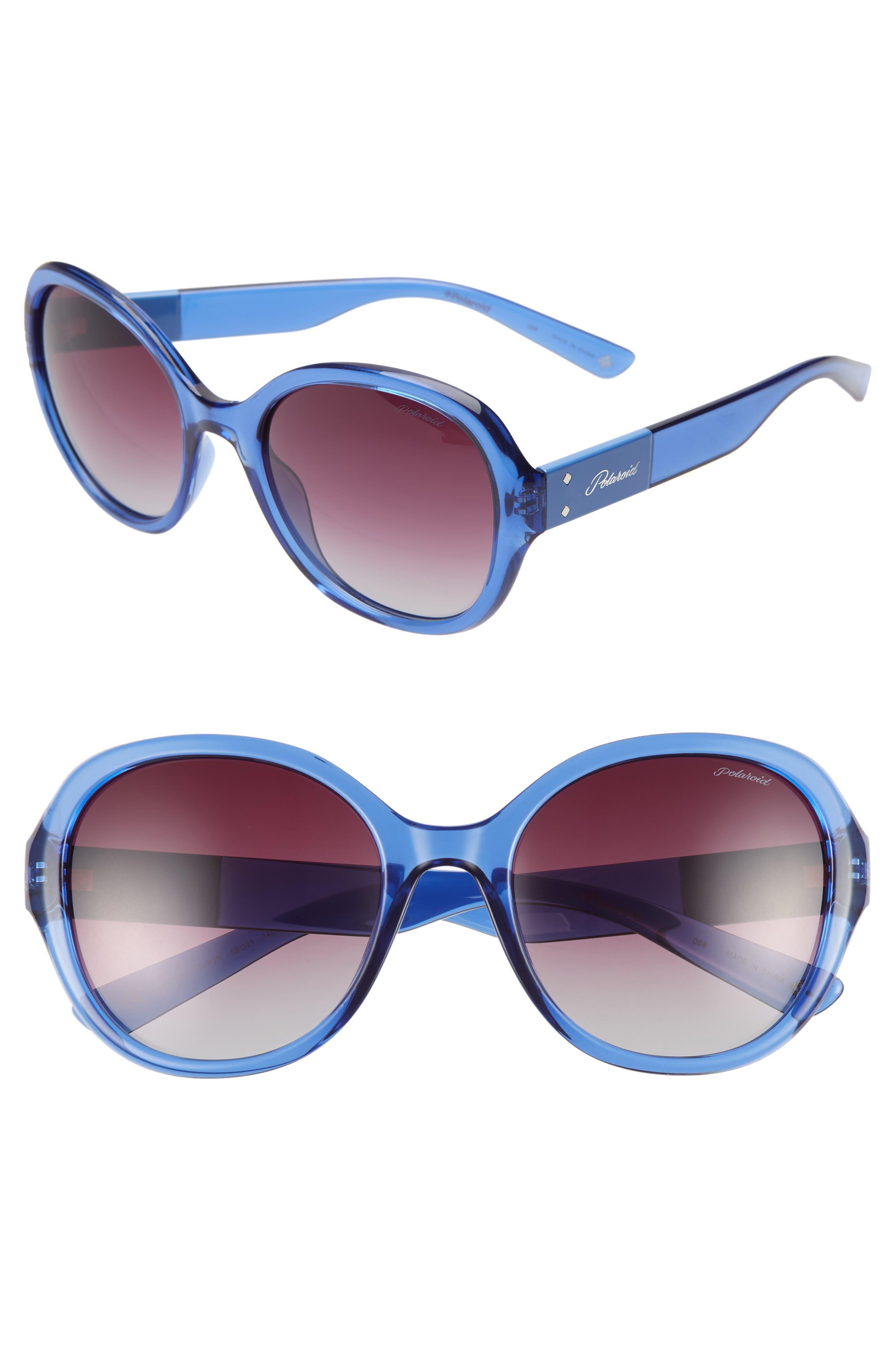 Polaroid 55Mm Polarized Round Sunglasses - Blue