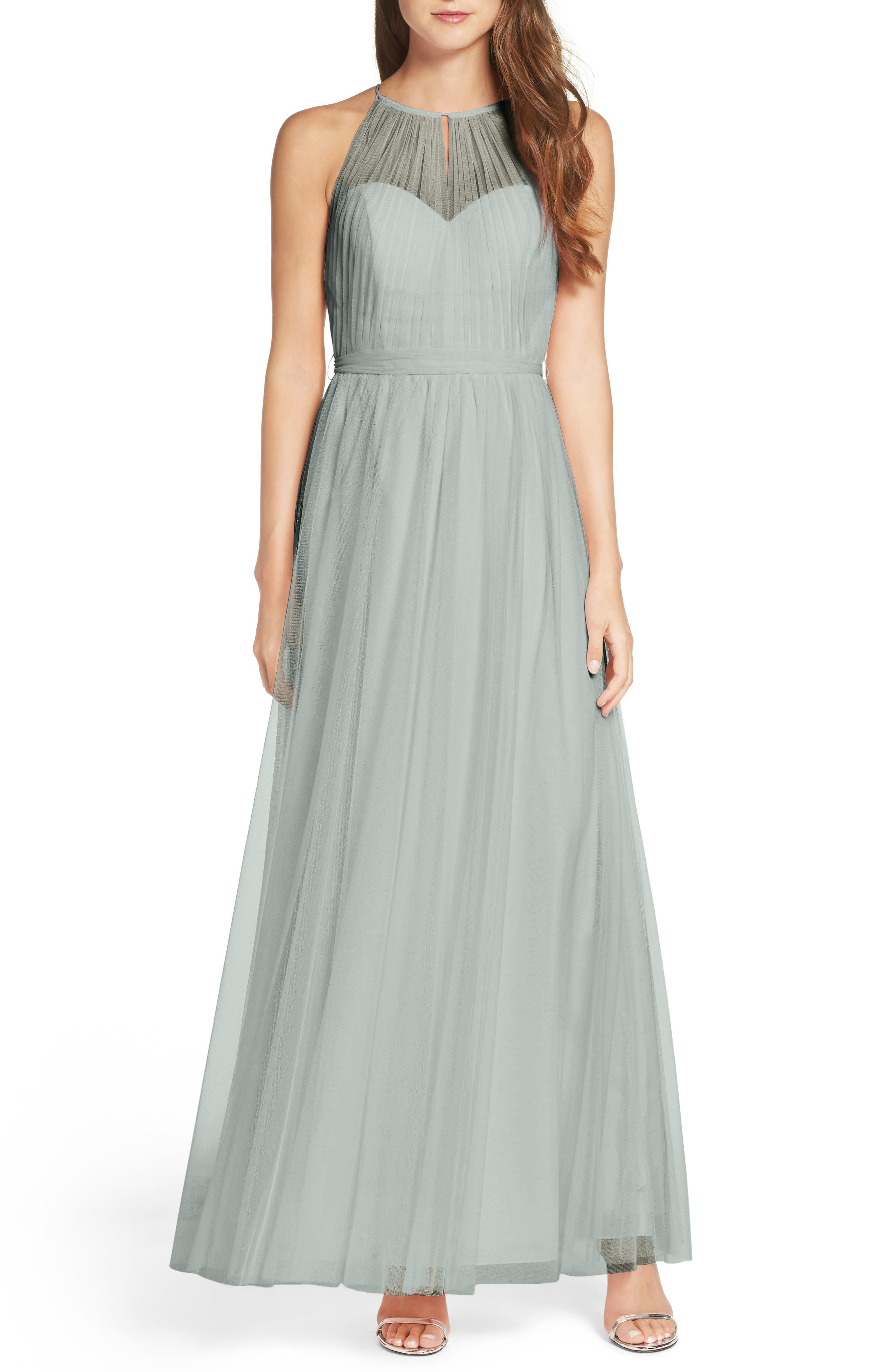 Tulle Halter Neck Gown,                             Main thumbnail 4, color,