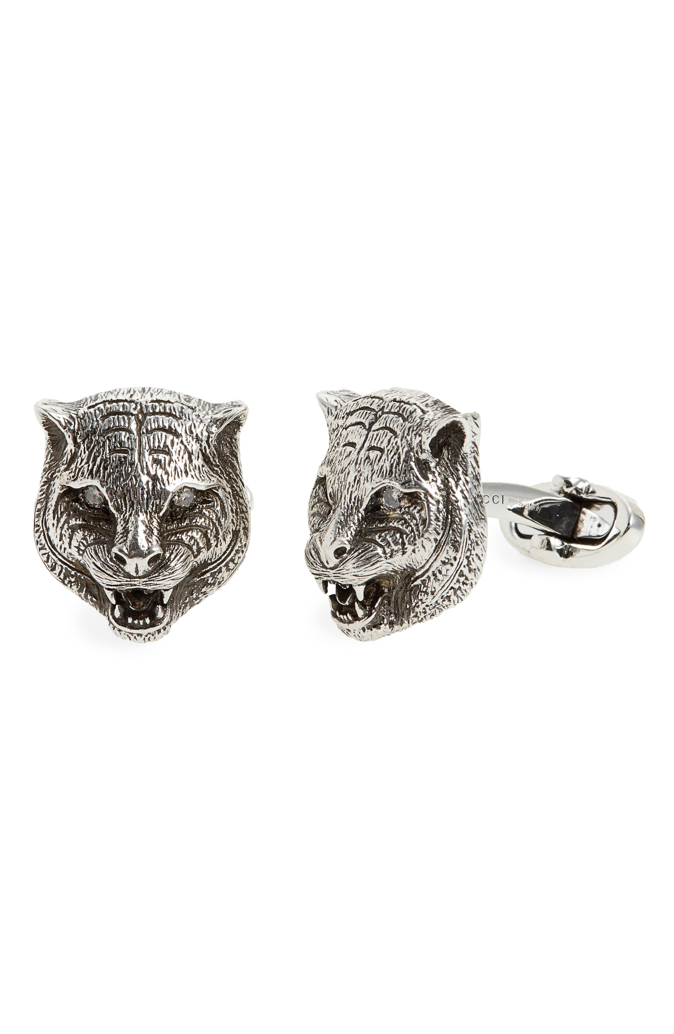 Garden Wolf Cuff Links,                         Main,                         color, 070