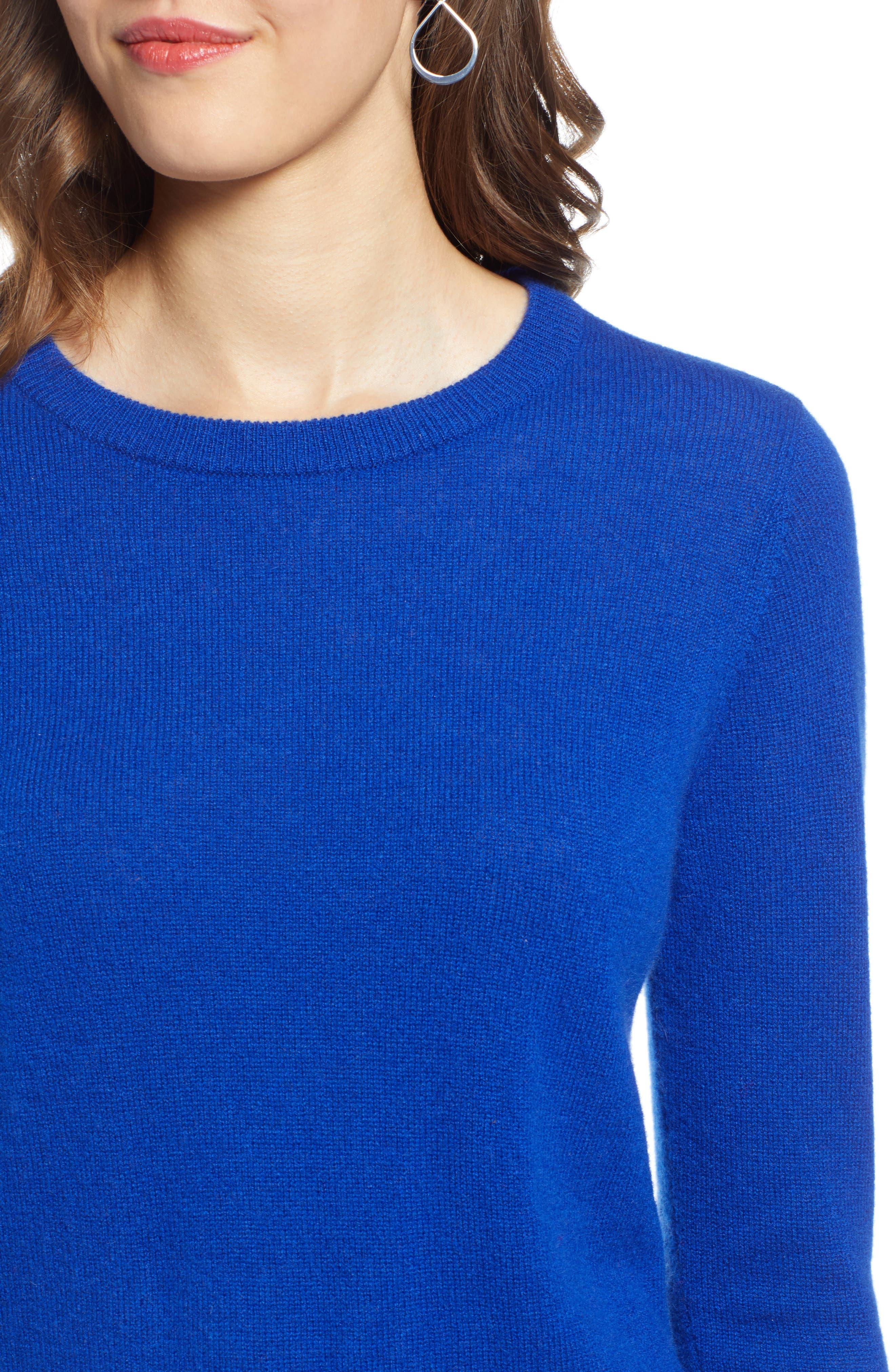 Crewneck Cashmere Sweater,                             Alternate thumbnail 4, color,                             BLUE MAZARINE