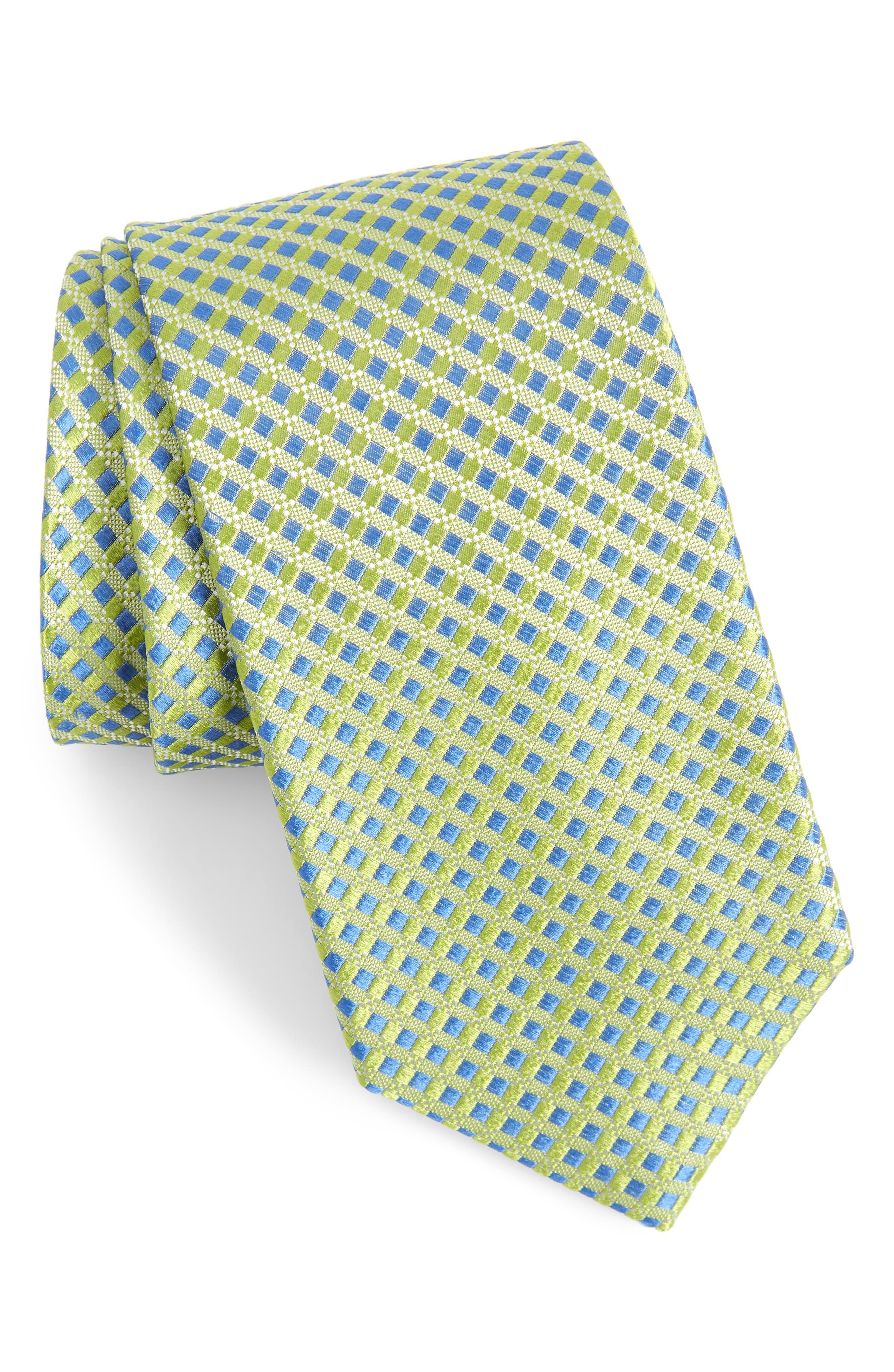 NORDSTROM MEN'S SHOP,                             Nathan Neat Silk Tie,                             Main thumbnail 1, color,                             GREEN