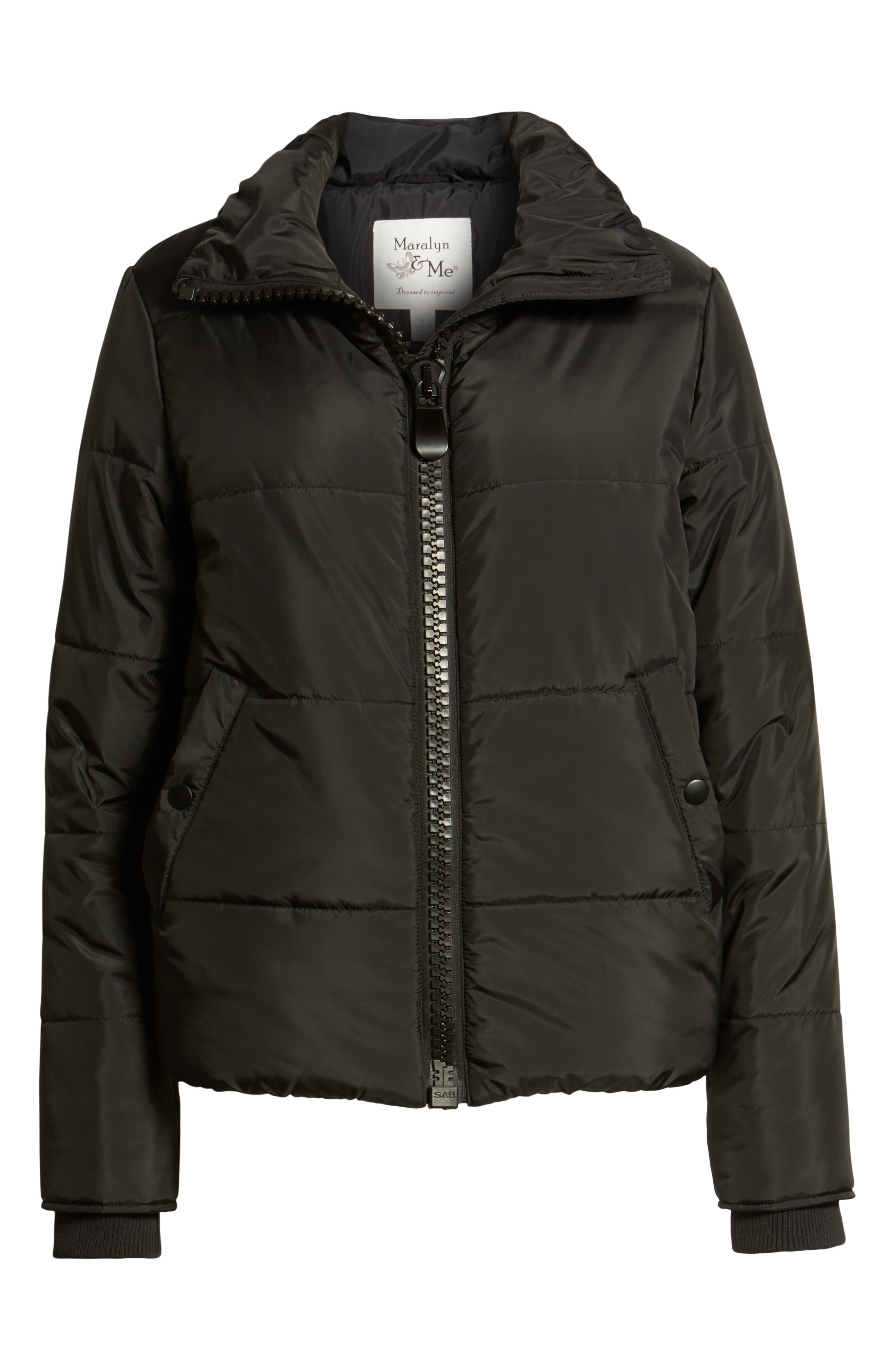 Rail Quilted Puffer Jacket,                             Alternate thumbnail 6, color,                             BLACK