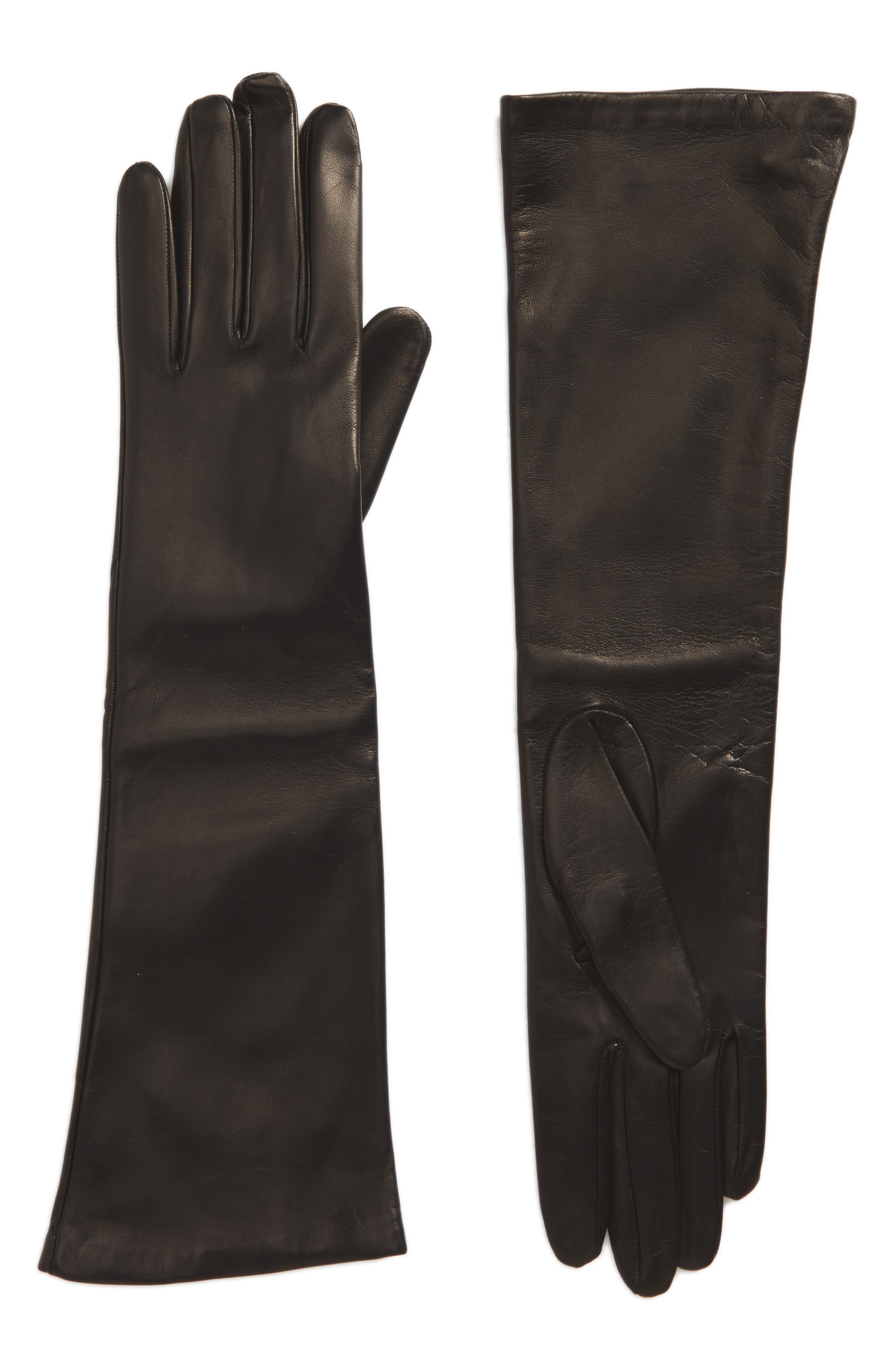 Long Leather Gloves,                             Main thumbnail 1, color,