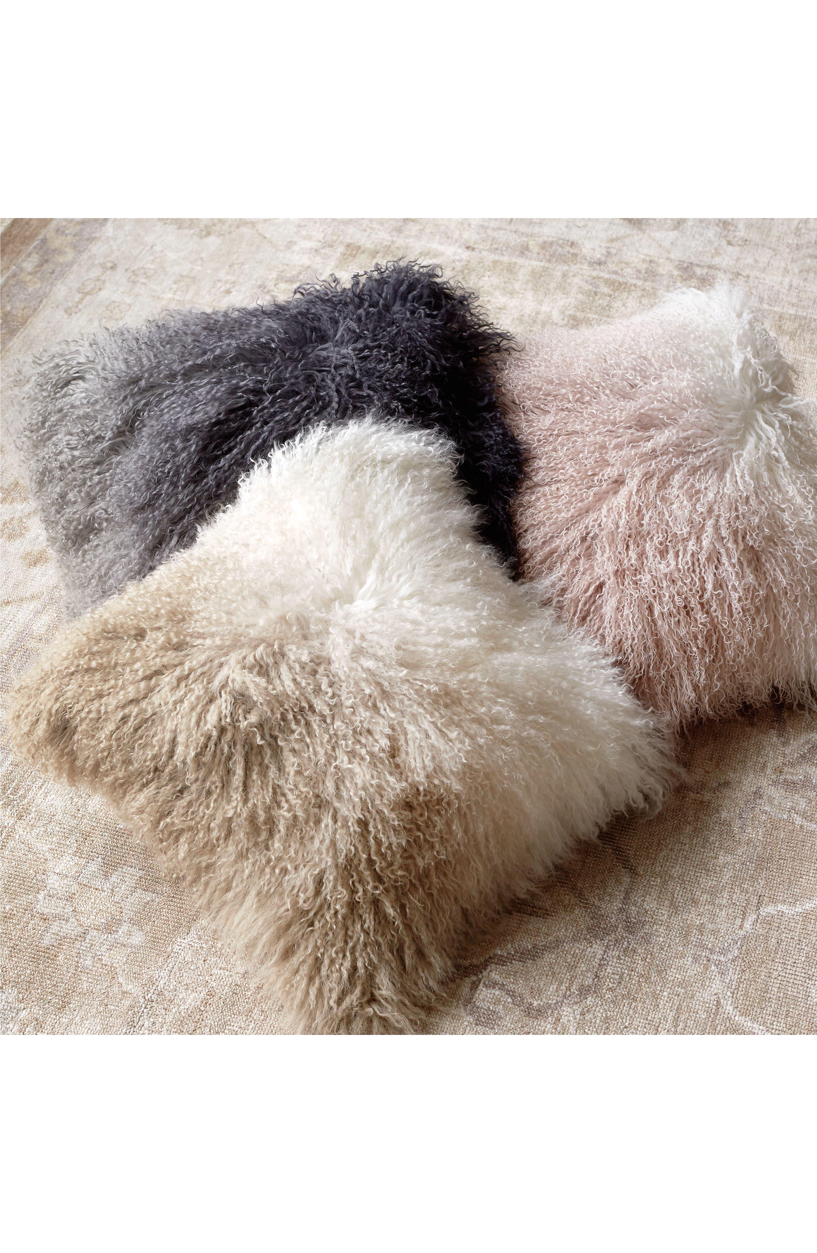 Dip Dye Sheepskin Accent Pillow,                             Alternate thumbnail 2, color,                             BLUSH