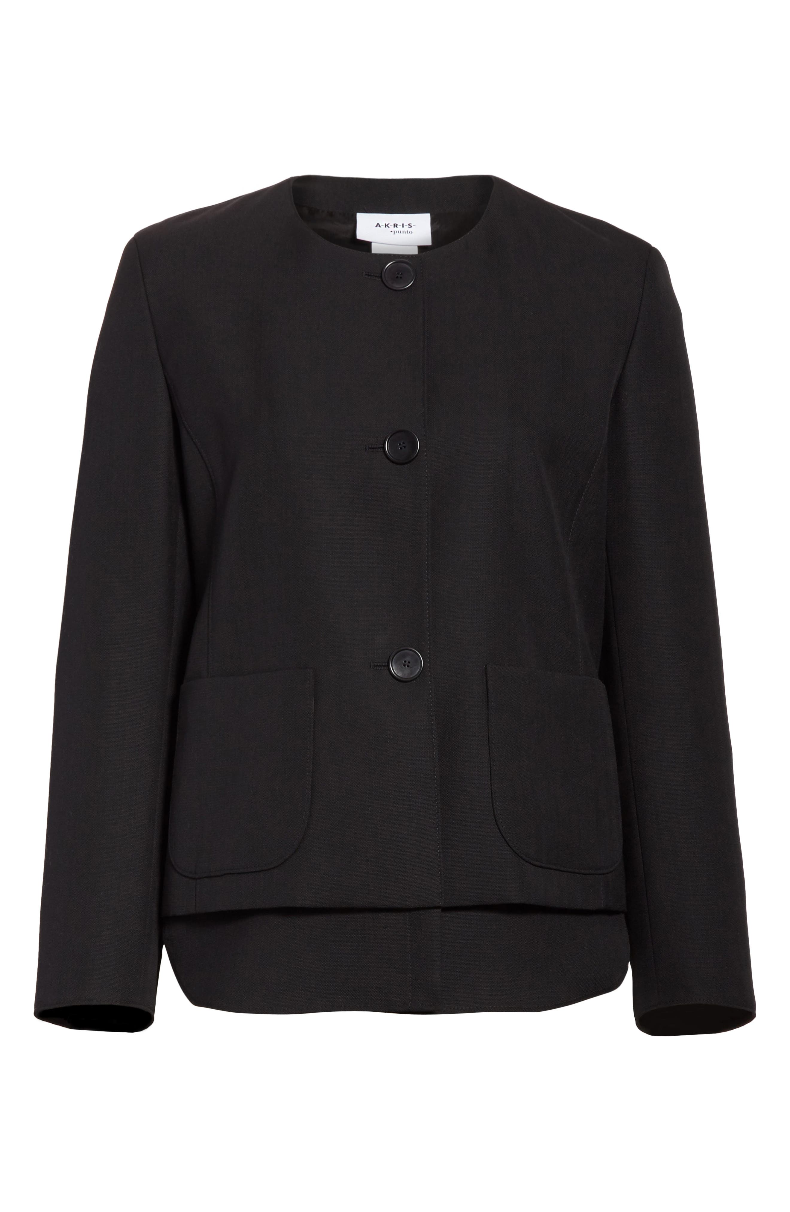 Wool Jacket with Detachable Hem,                             Alternate thumbnail 5, color,                             009
