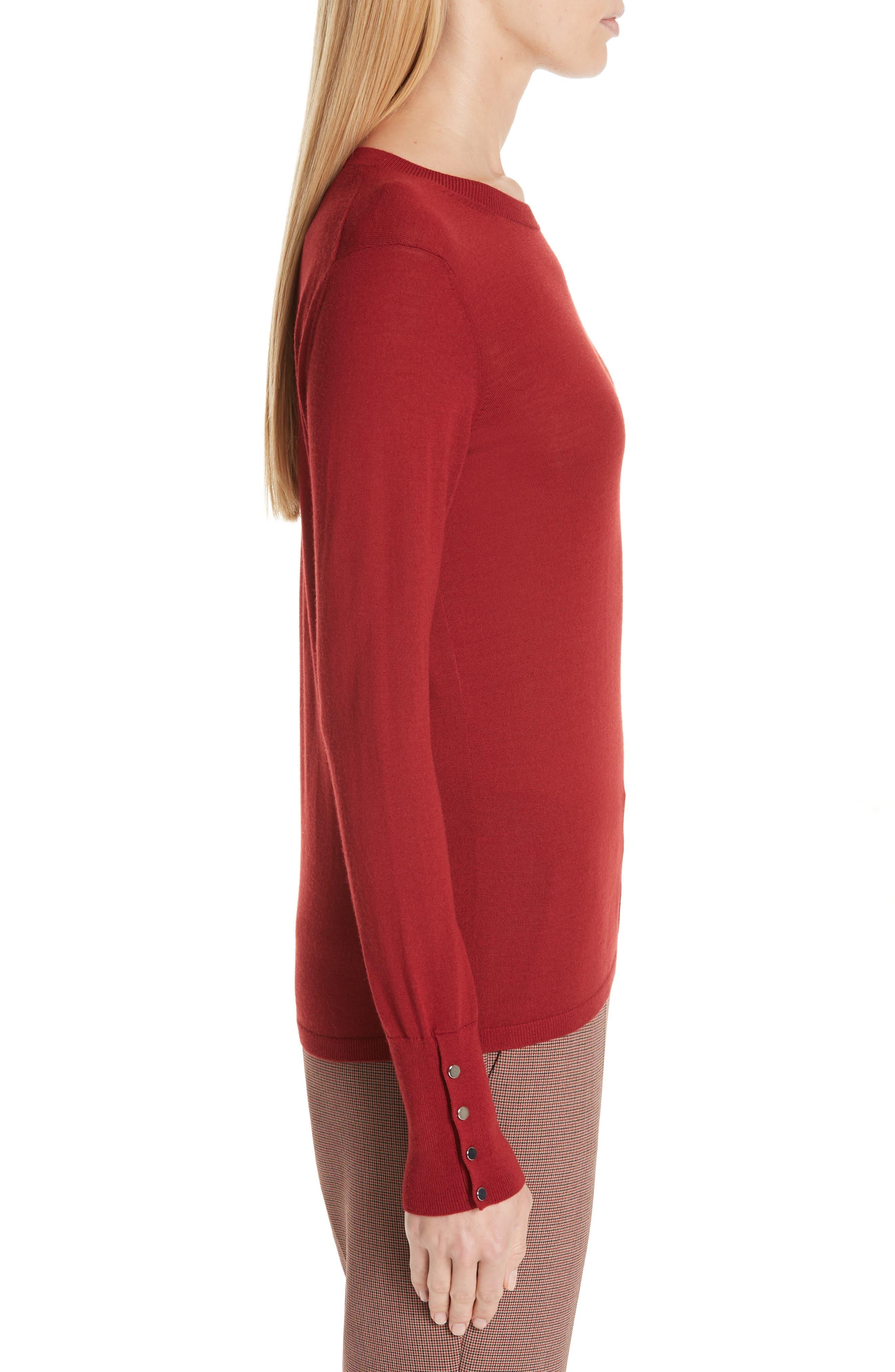 Frankie Cuff Detail Wool Sweater,                             Alternate thumbnail 3, color,                             DARK RED