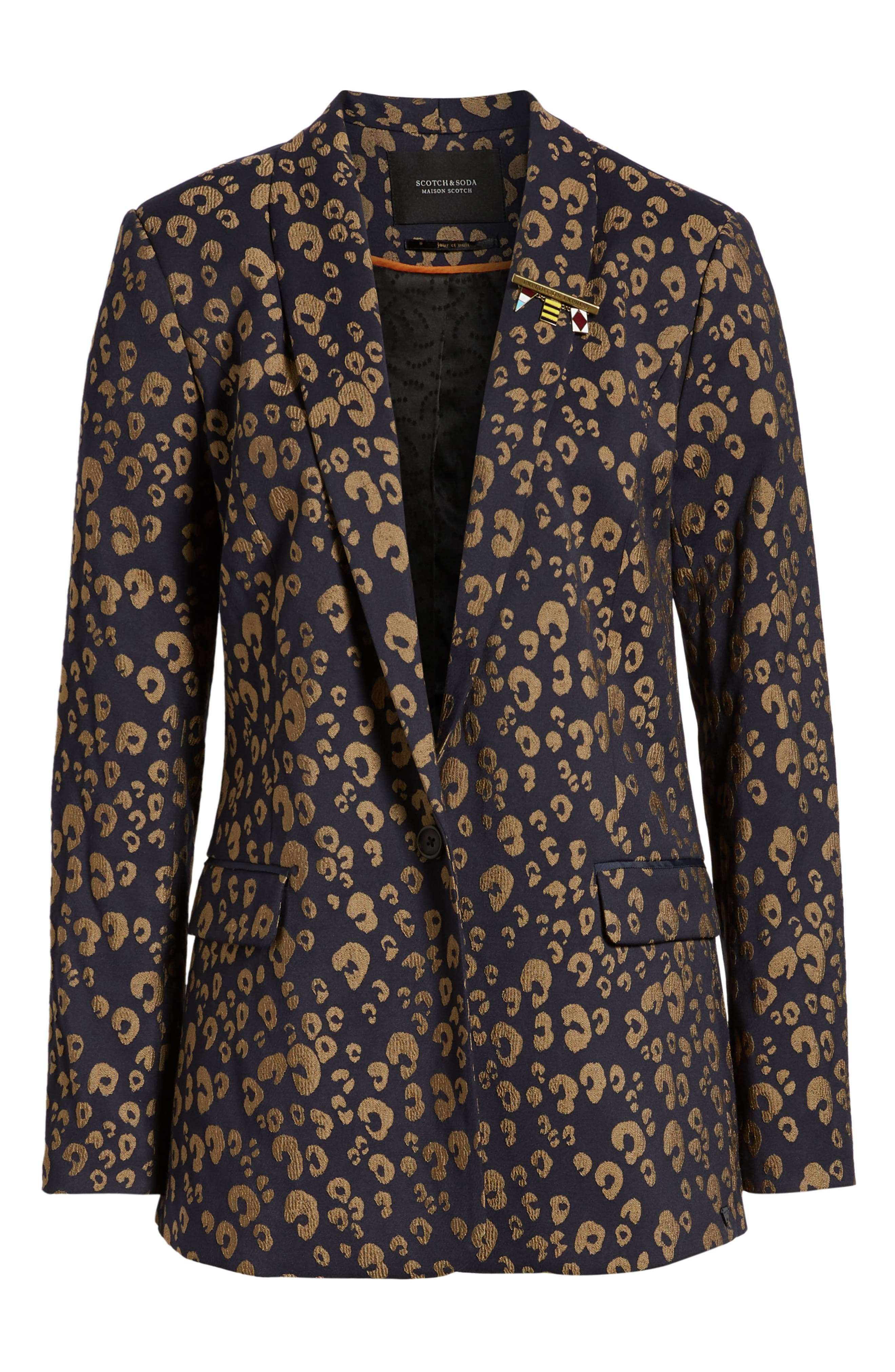 Stretch Jacquard Tailored Blazer,                             Alternate thumbnail 5, color,                             NAVY W/ GOLD LEOPARD PRINT