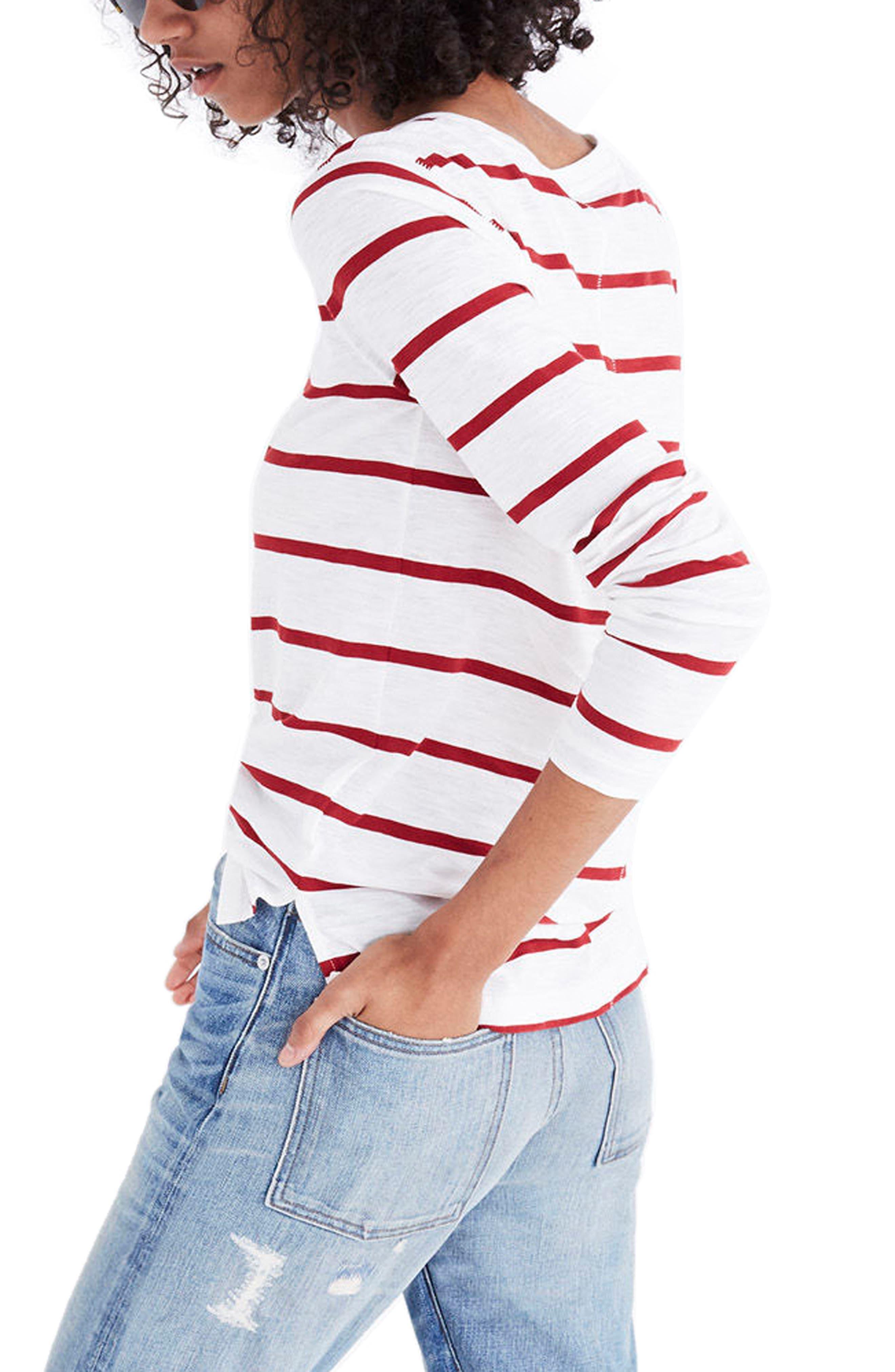 Whisper Cotton Stripe Long Sleeve Tee,                             Alternate thumbnail 2, color,