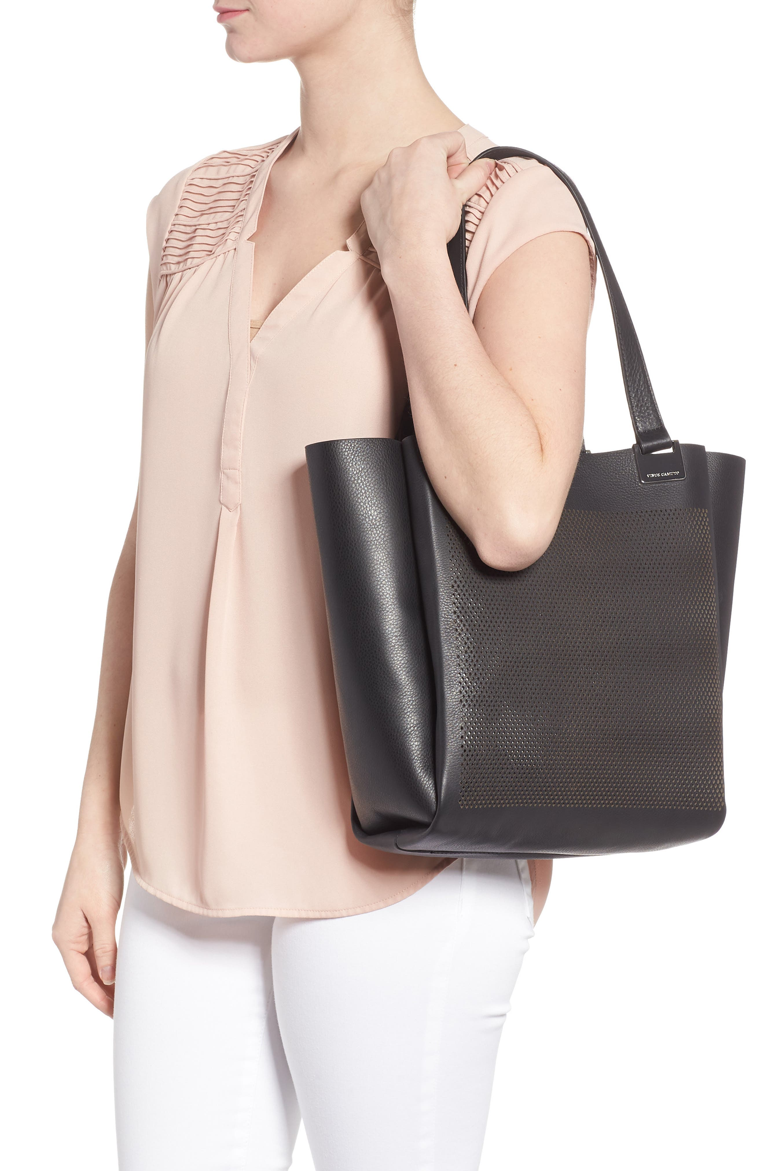 Beatt Perforated Leather Tote,                             Alternate thumbnail 2, color,                             001