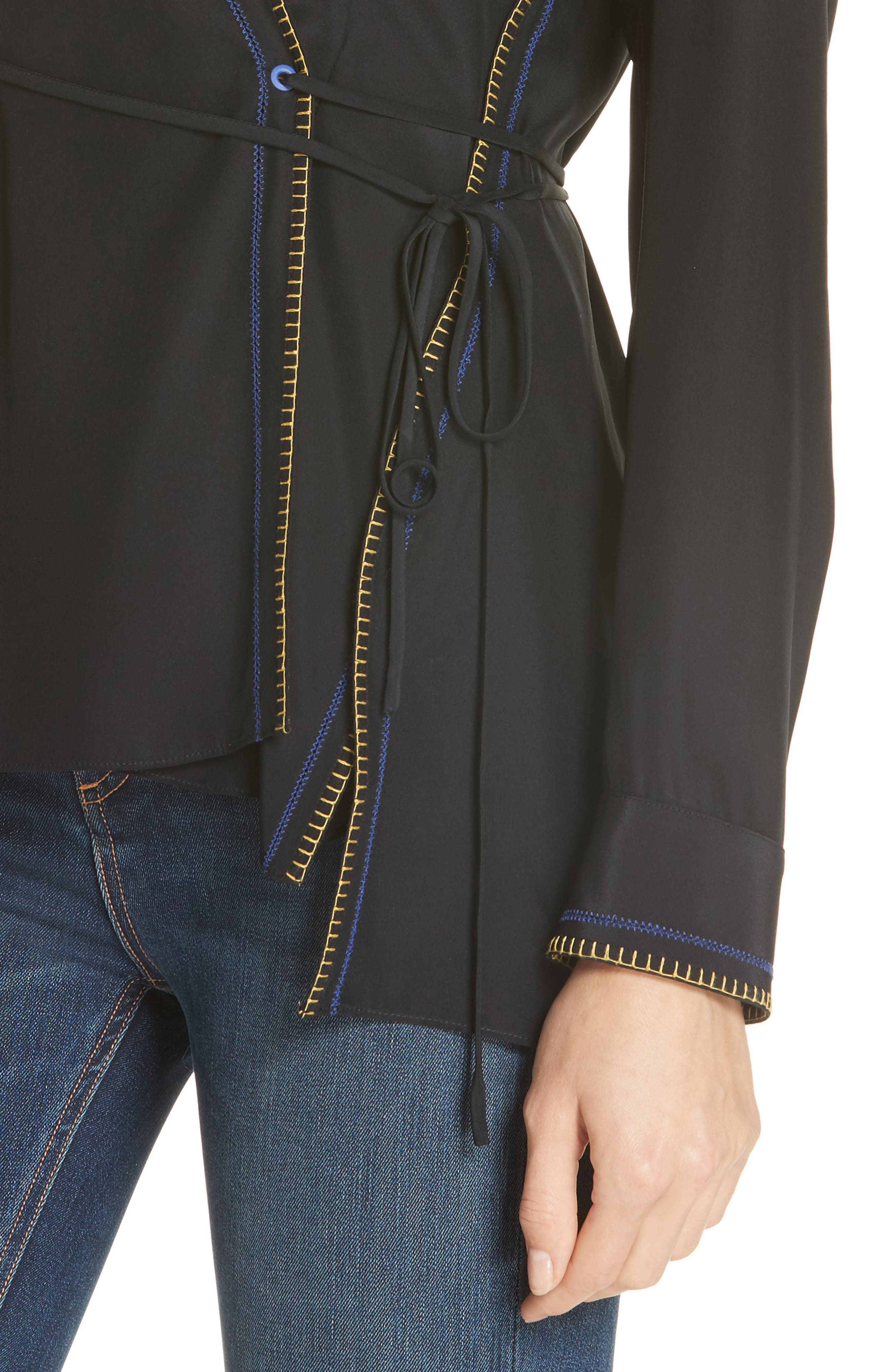 Lina Embroidered Silk Wrap Blouse,                             Alternate thumbnail 4, color,                             BLACK