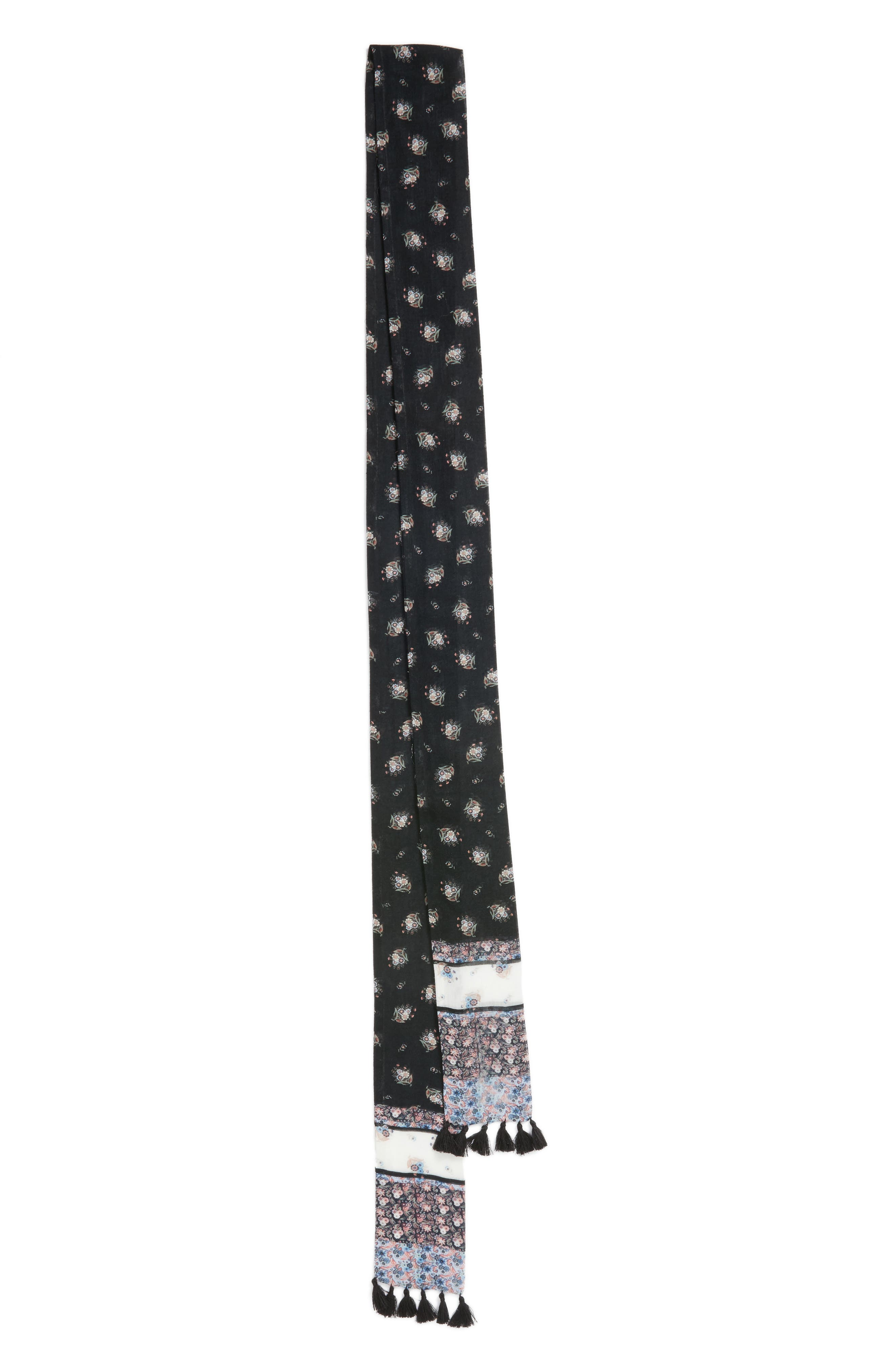 Ditsy Floral Skinny Scarf,                             Alternate thumbnail 3, color,