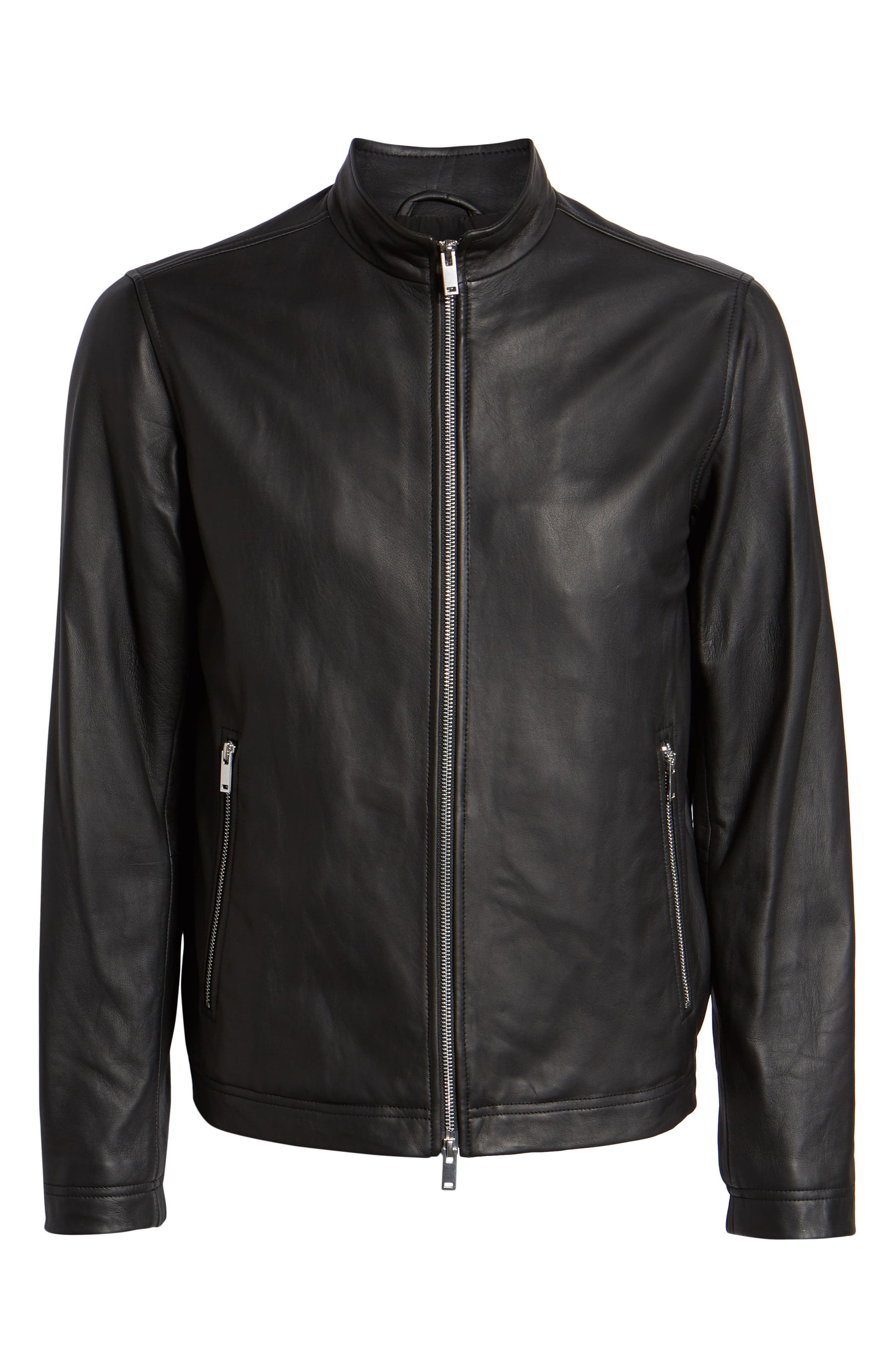 Morvek L.Burgos Trim Fit Leather Jacket,                             Alternate thumbnail 6, color,                             BLACK