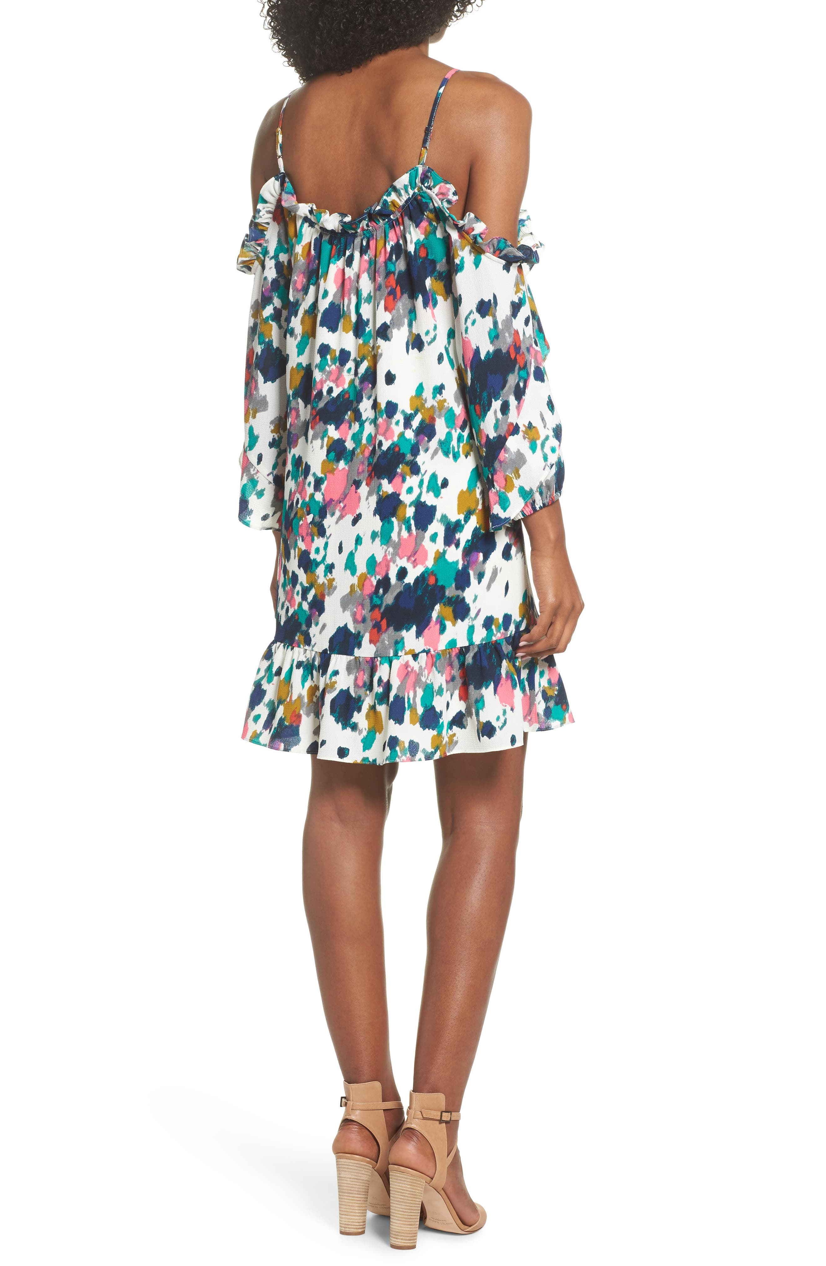 Clove and Sloane Fly Away Ruffle Cold Shoulder Dress,                             Alternate thumbnail 2, color,                             440