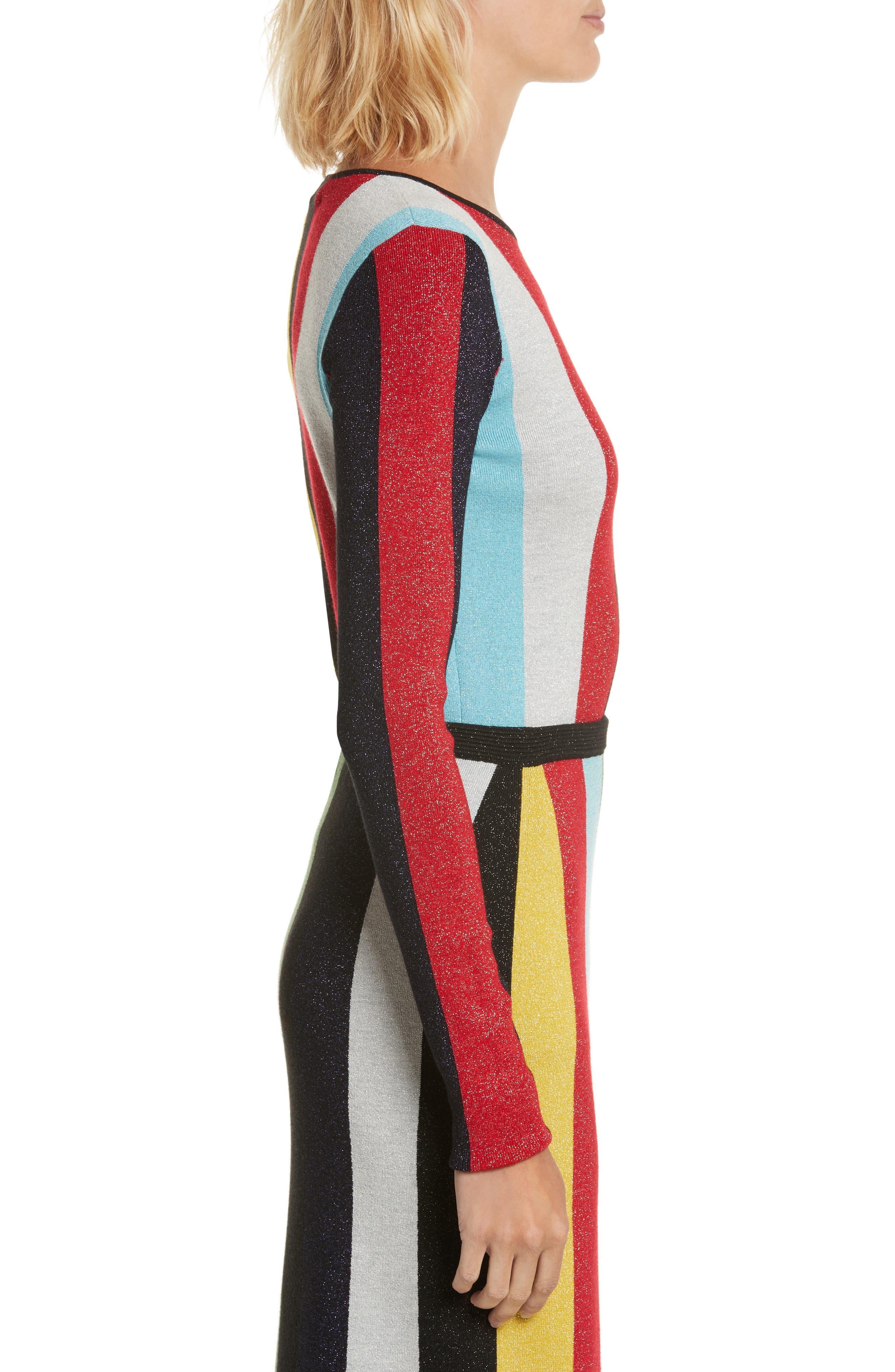 Diane von Furstenberg Metallic Stripe Sweater,                             Alternate thumbnail 3, color,                             008