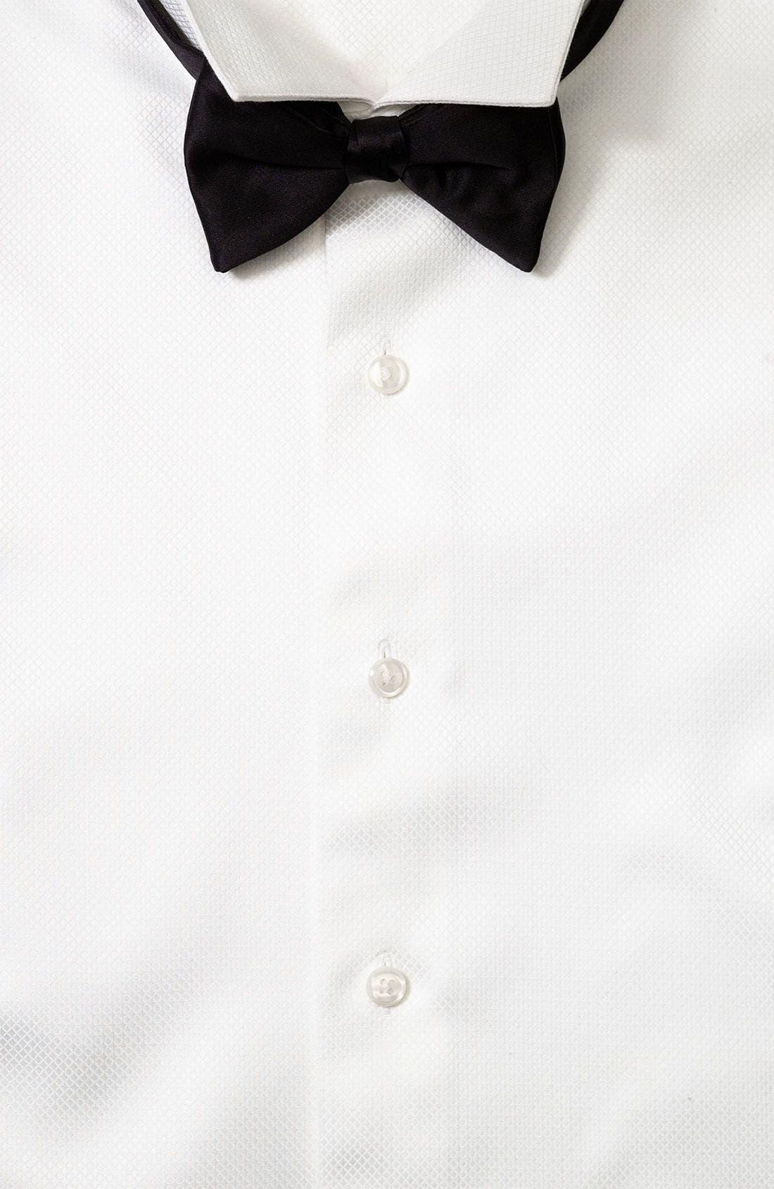 Bow Pre-Tied Tie,                             Alternate thumbnail 3, color,                             BLACK SATIN