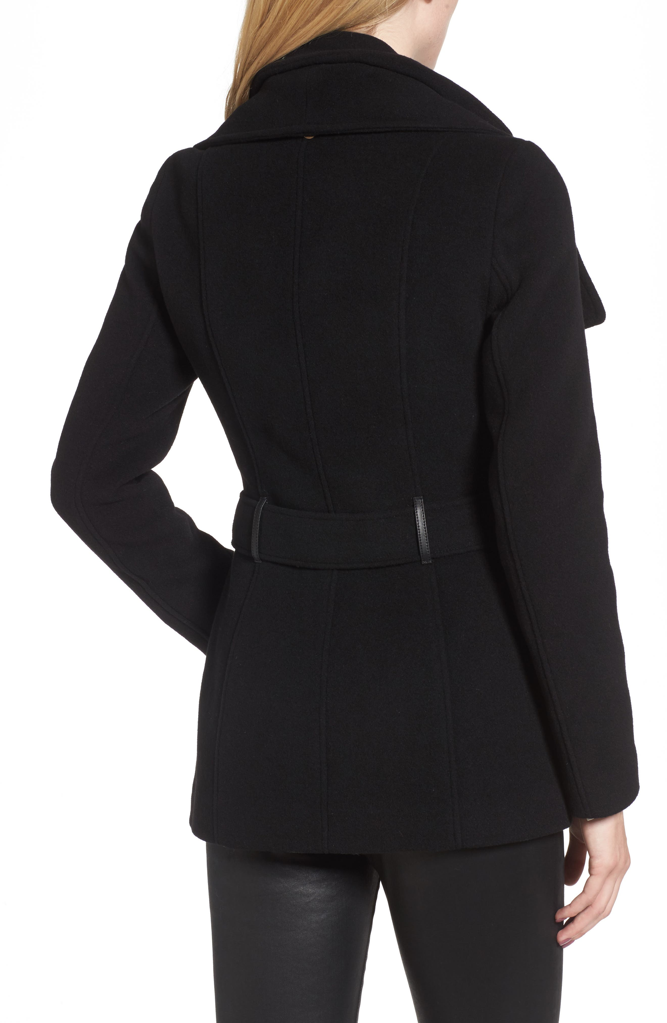 Norissa Double-Breasted Wool Blend Peacoat,                             Alternate thumbnail 2, color,                             001