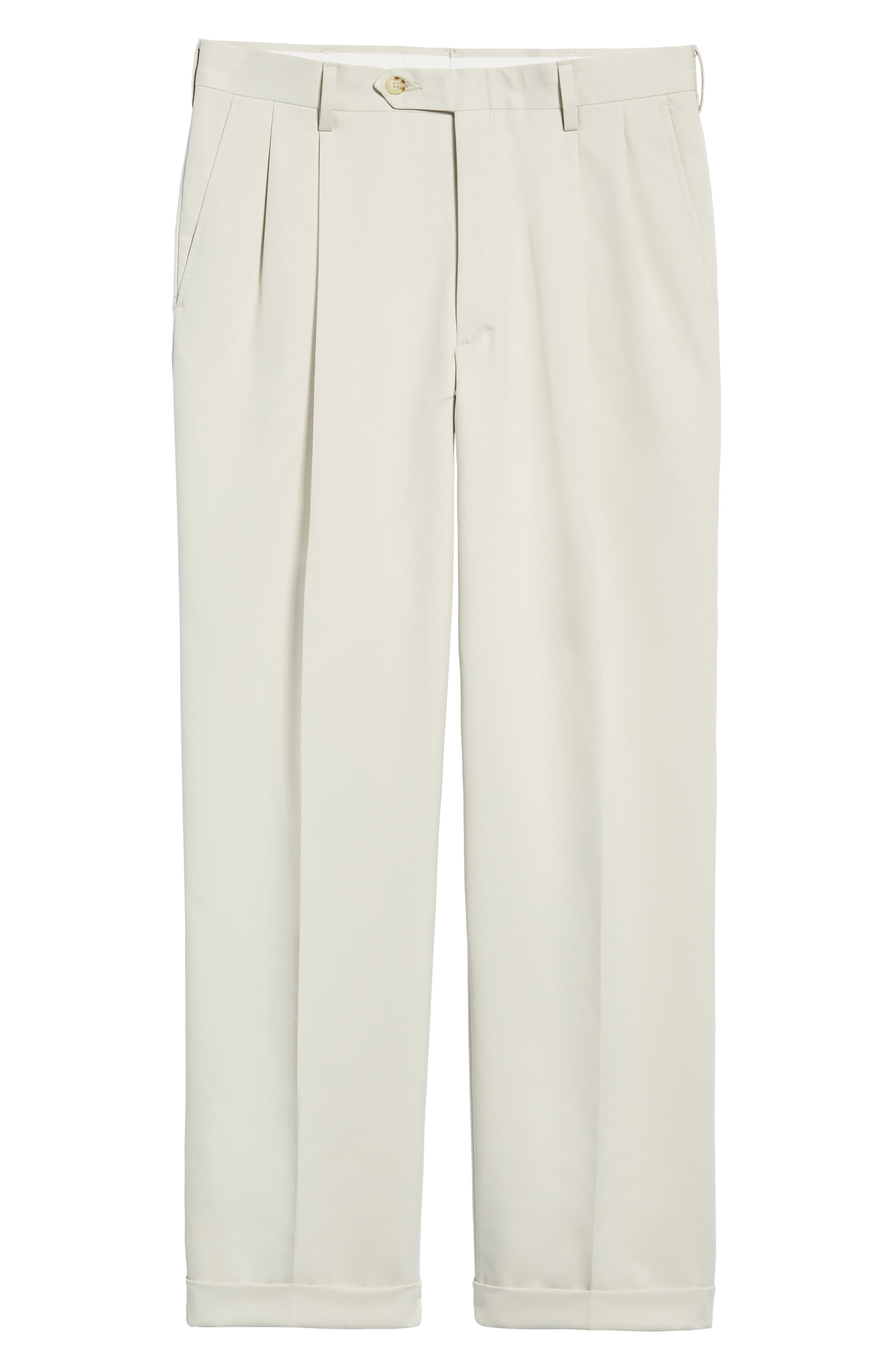 BERLE,                             Classic Fit Pleated Microfiber Performance Trousers,                             Alternate thumbnail 6, color,                             GREY