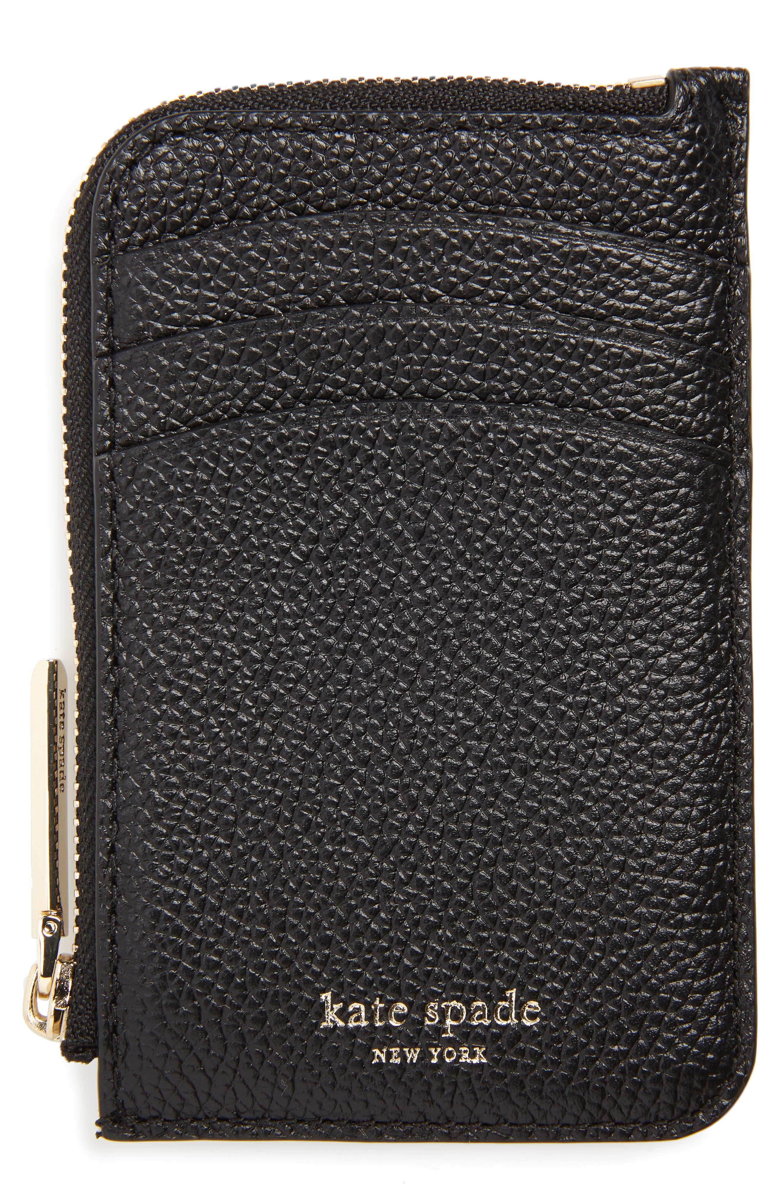 KATE SPADE NEW YORK margaux leather zip card holder, Main, color, BLACK