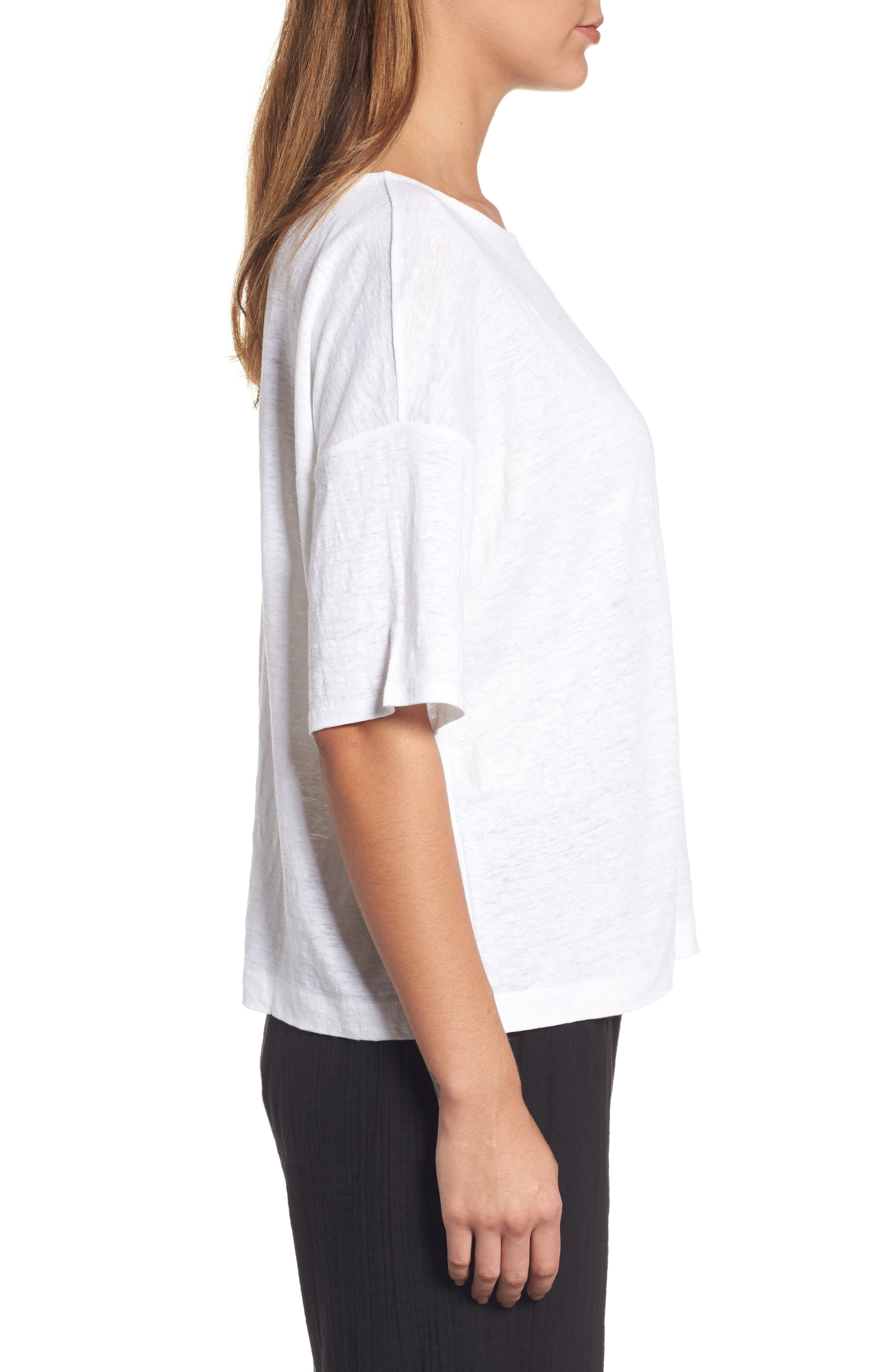 Organic Linen Jersey Boxy Top,                             Alternate thumbnail 16, color,