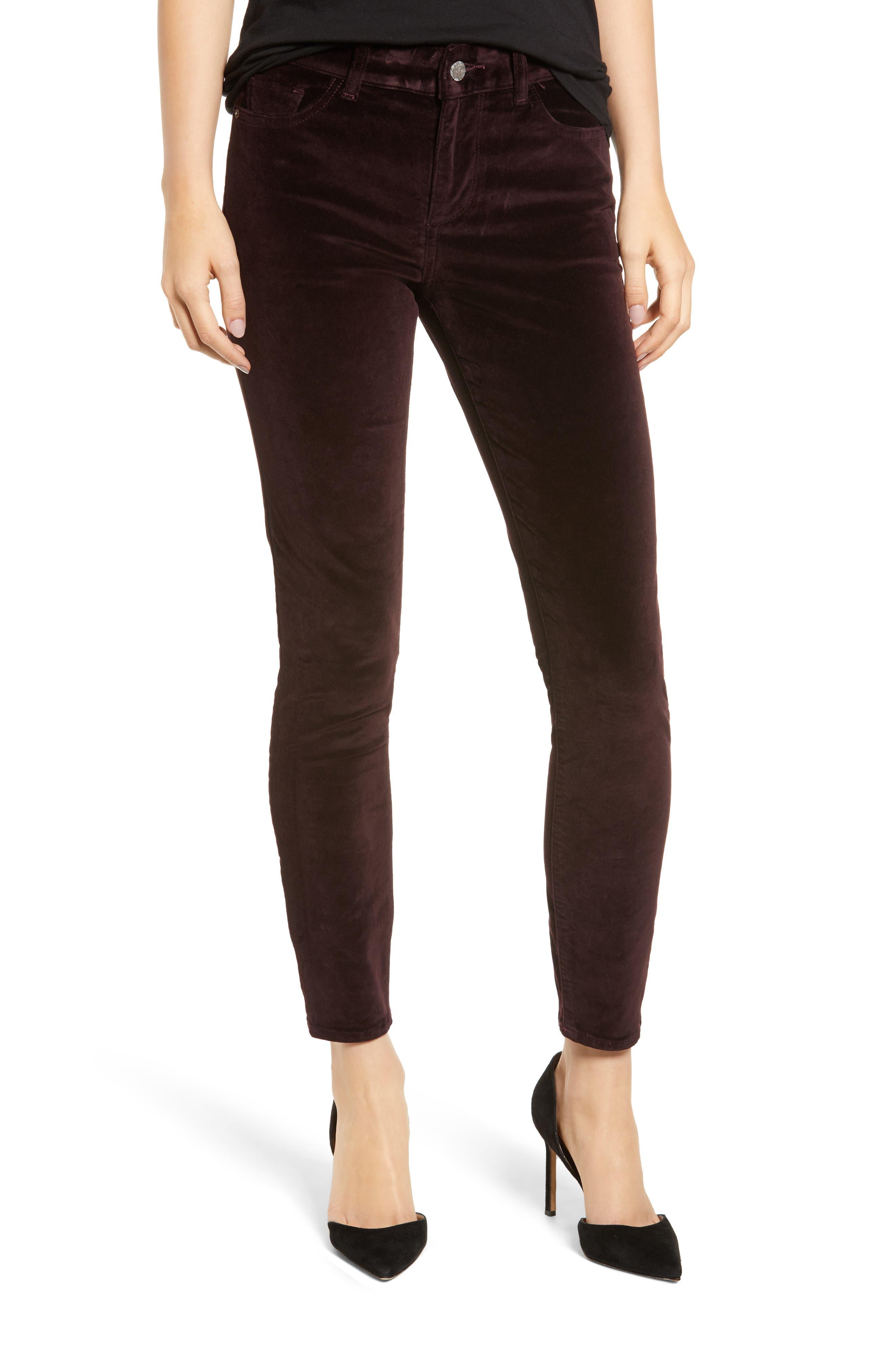 Margaux Instasculpt Ankle Skinny Velvet Pants,                         Main,                         color, DARK PURPLE
