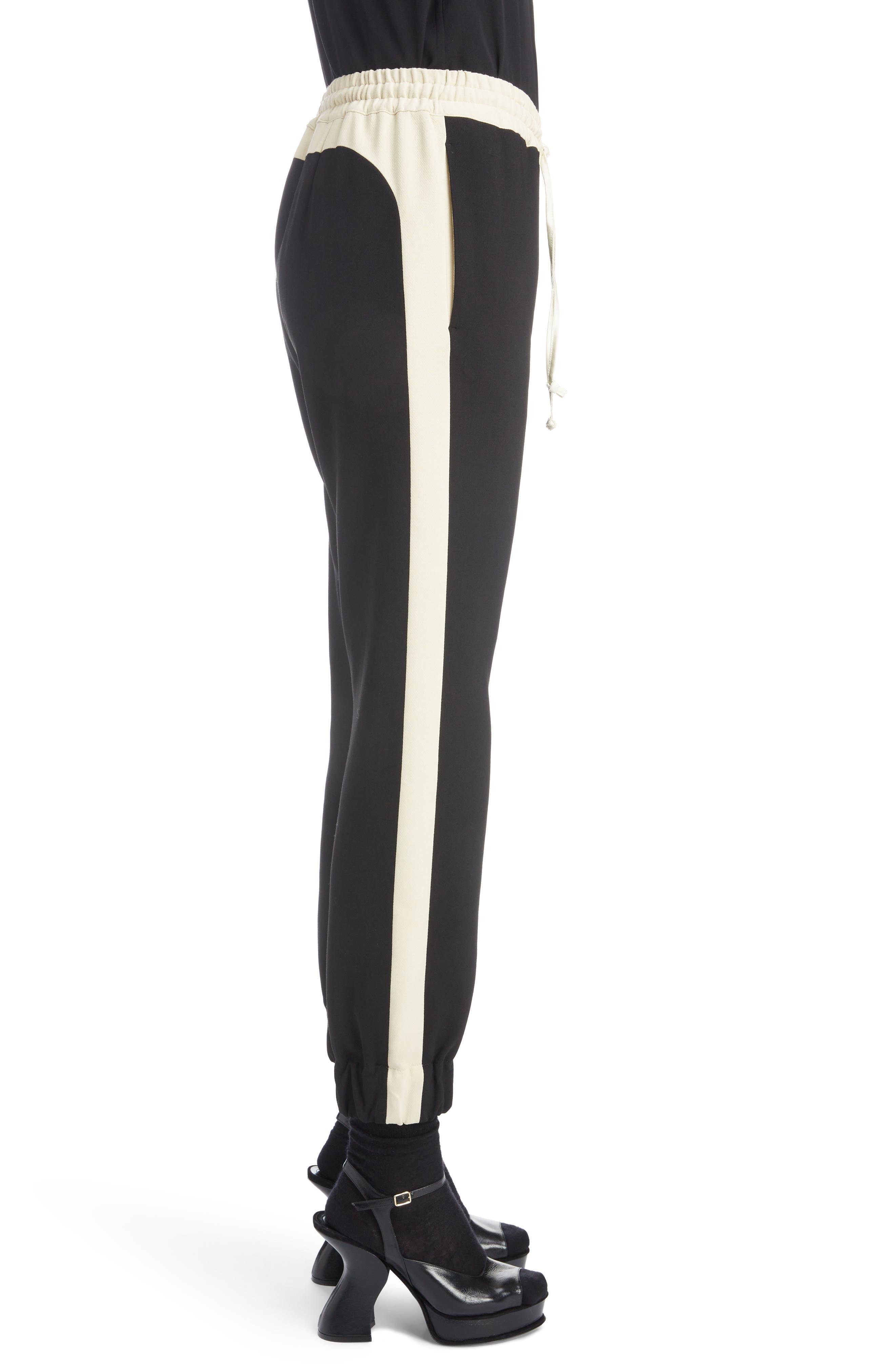 Contrast Stripe Track Pants,                             Alternate thumbnail 3, color,                             BLACK