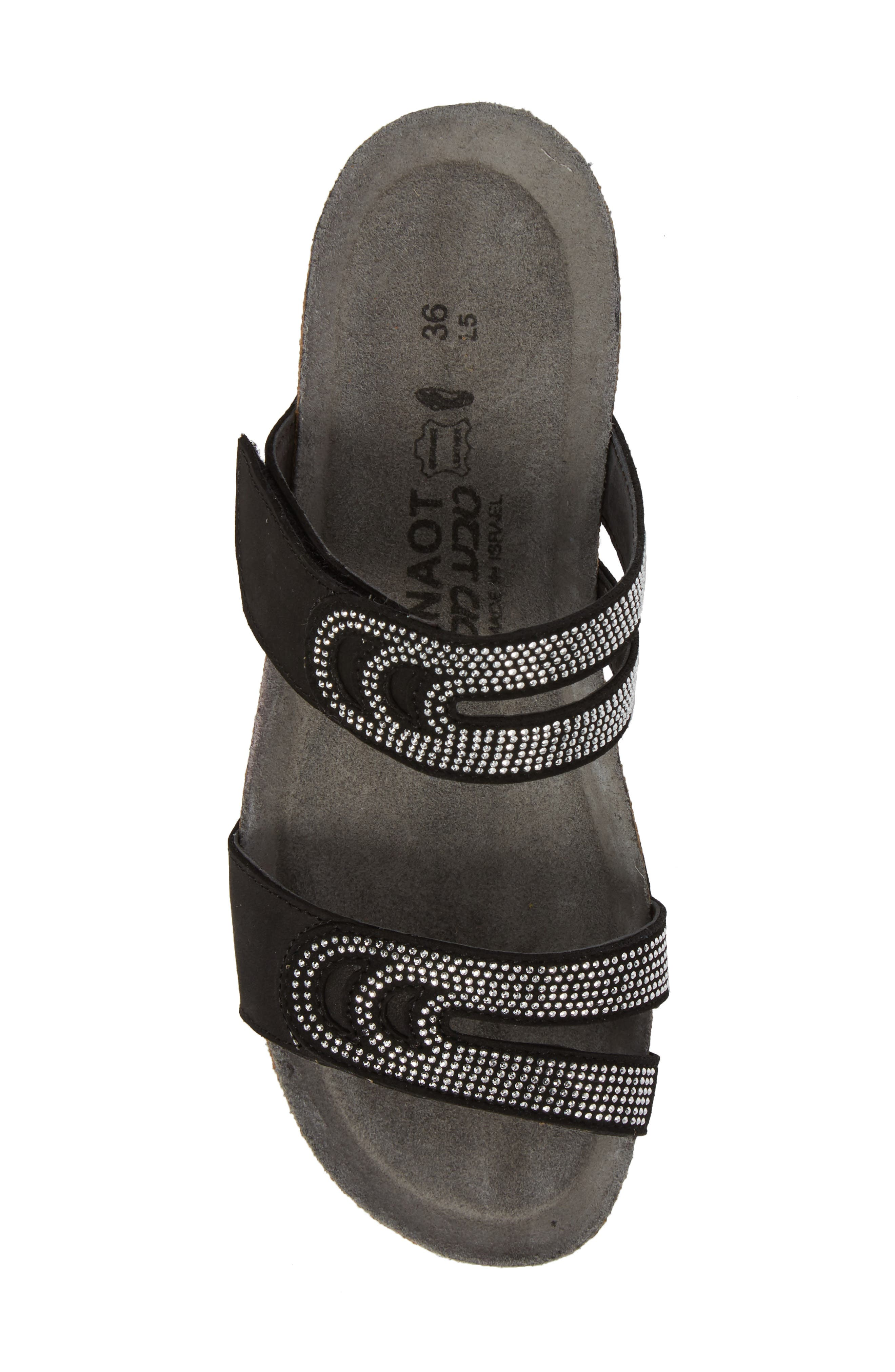 Ainsley Studded Slide Sandal,                             Alternate thumbnail 5, color,                             BLACK NUBUCK