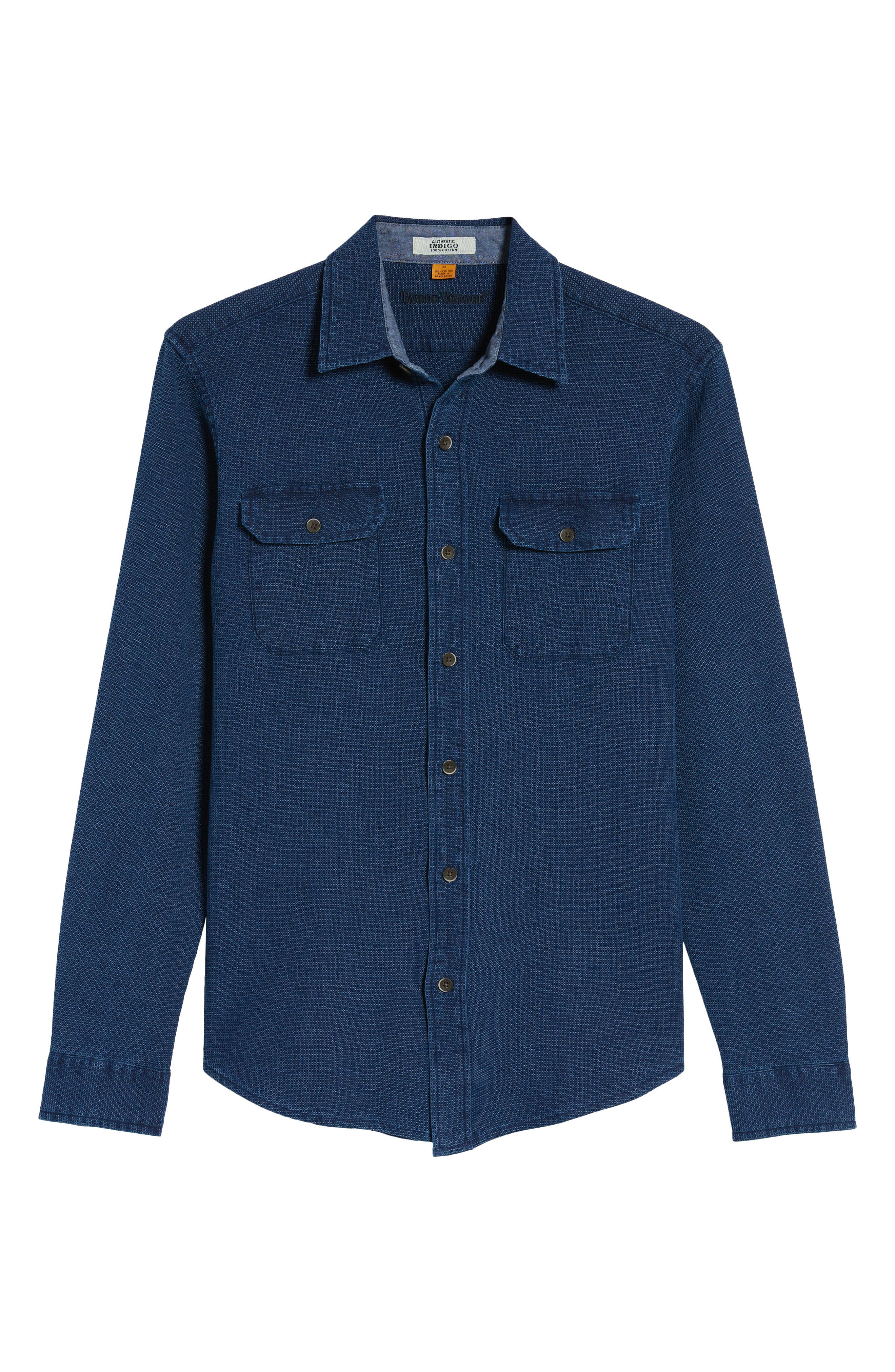 Regular Fit Indigo Waffle Sport Shirt,                             Alternate thumbnail 6, color,                             478