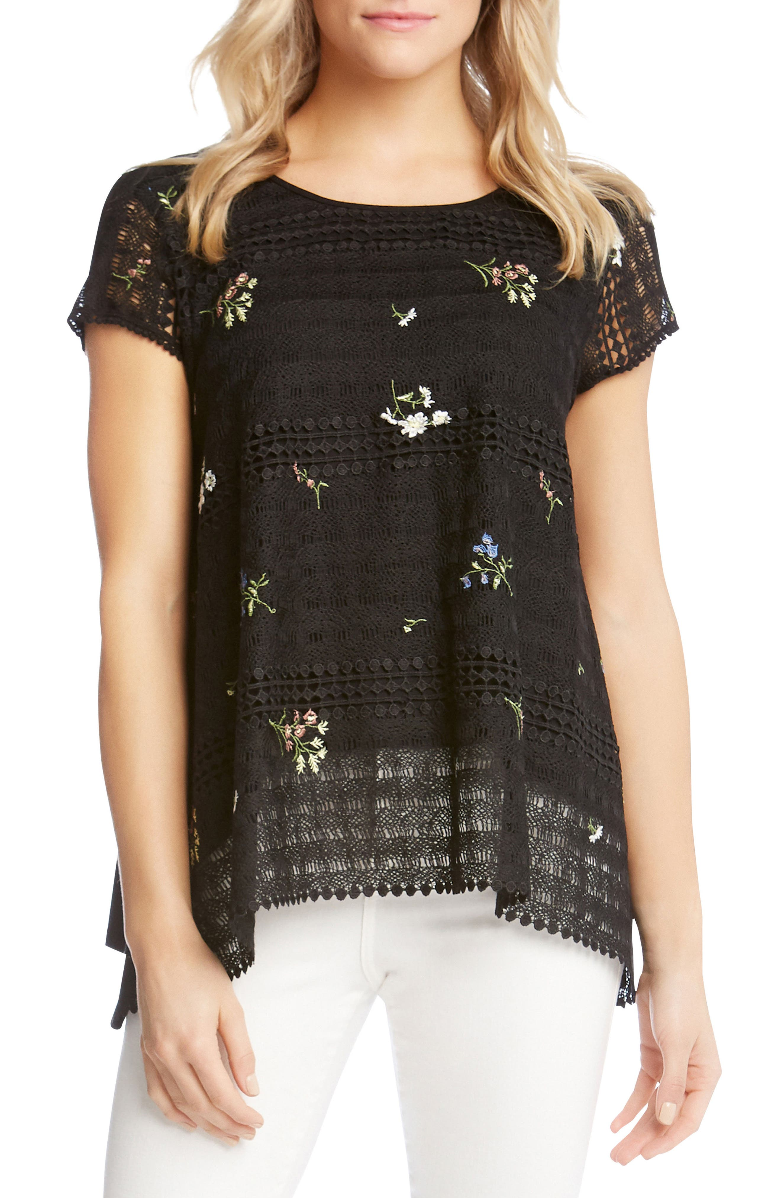 Embroidered Lace Blouse,                         Main,                         color, 001