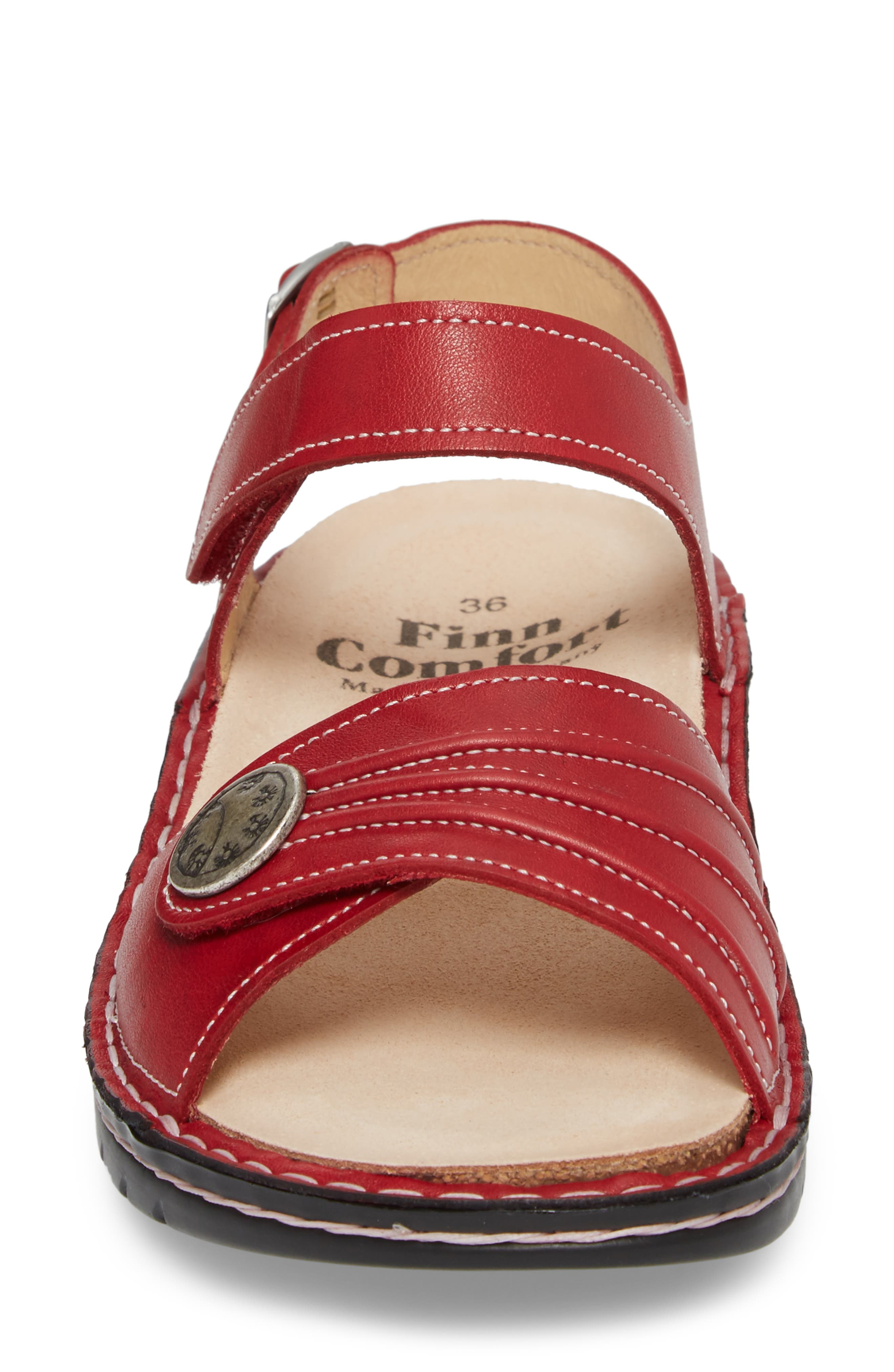 FINNAMIC by Finn Comfort 'Sausalito' Sandal,                             Alternate thumbnail 4, color,                             RED LEATHER