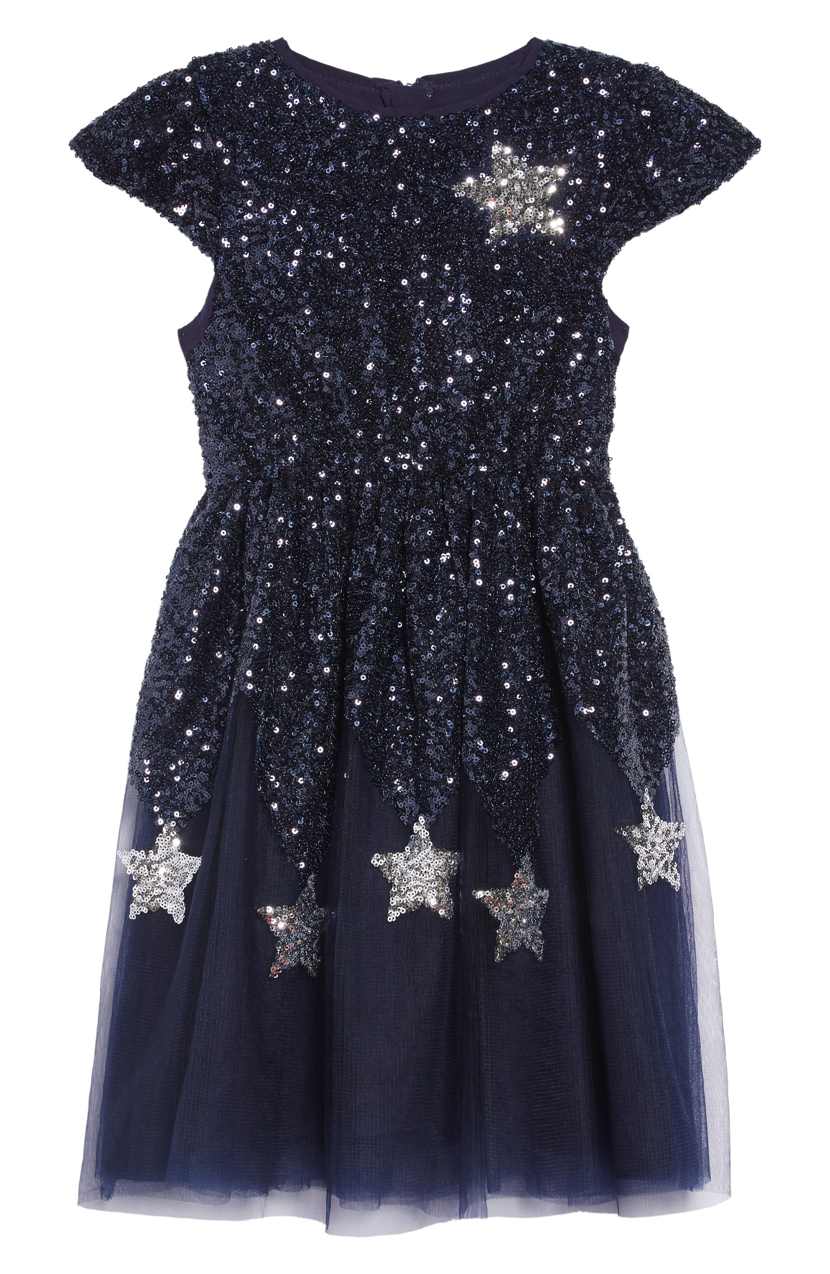 Star Sequin Tulle Dress,                             Main thumbnail 1, color,                             NAVY