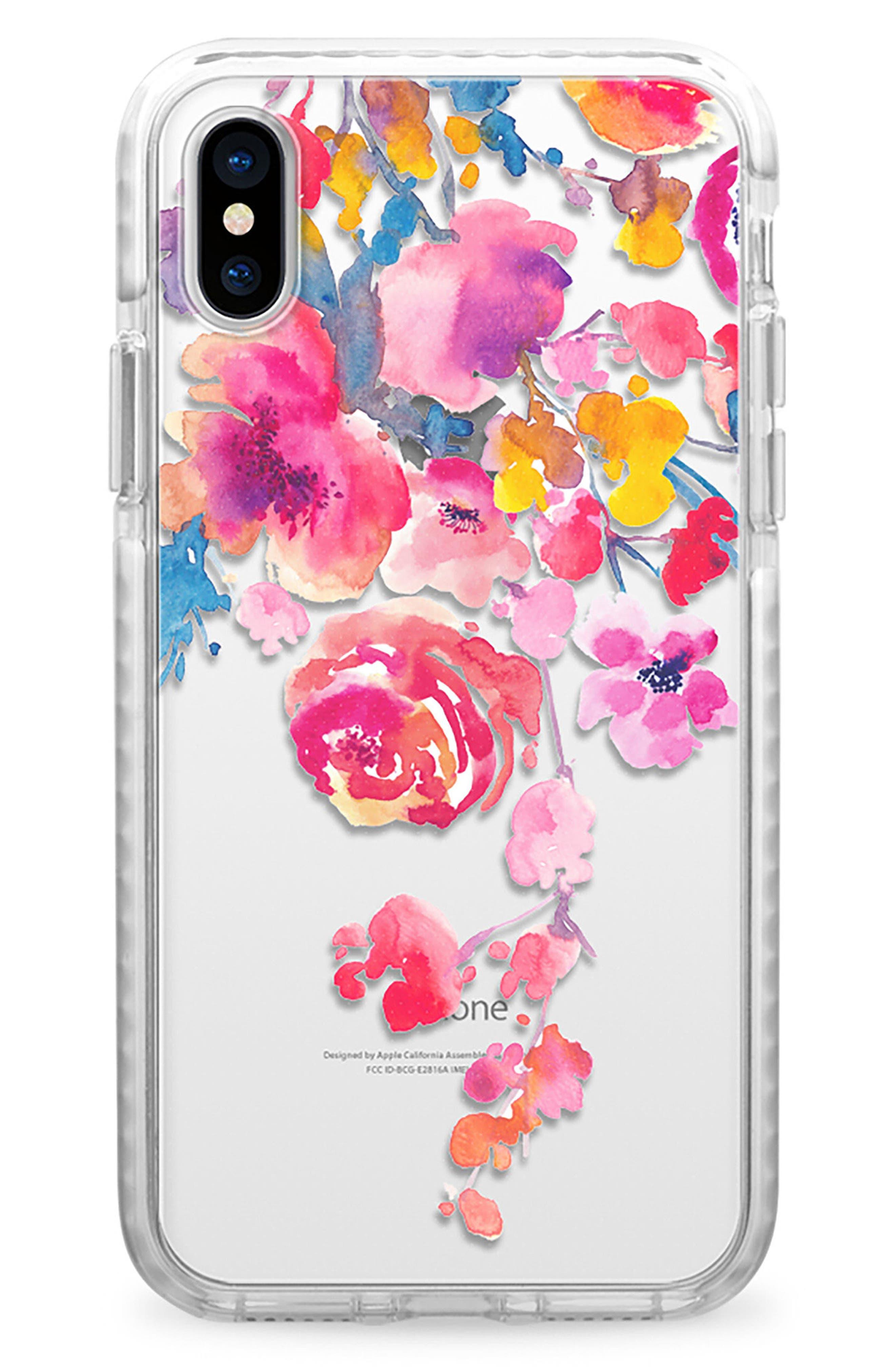 Watercolor Floral iPhone X & Xs Case,                             Main thumbnail 1, color,                             PINK MULTI