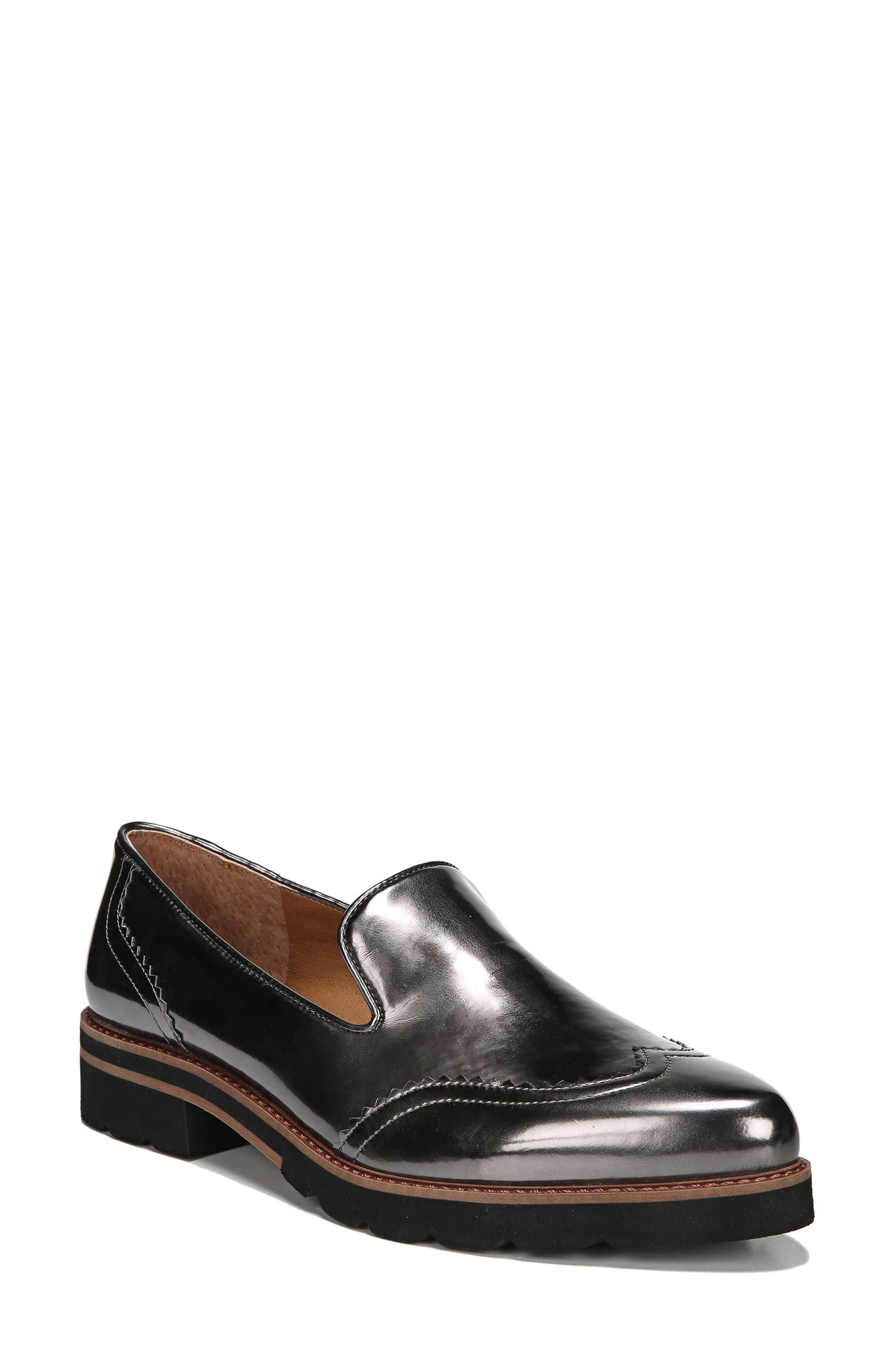 Betsy Loafer,                             Main thumbnail 1, color,                             GUNMETAL FAUX PATENT SUEDE