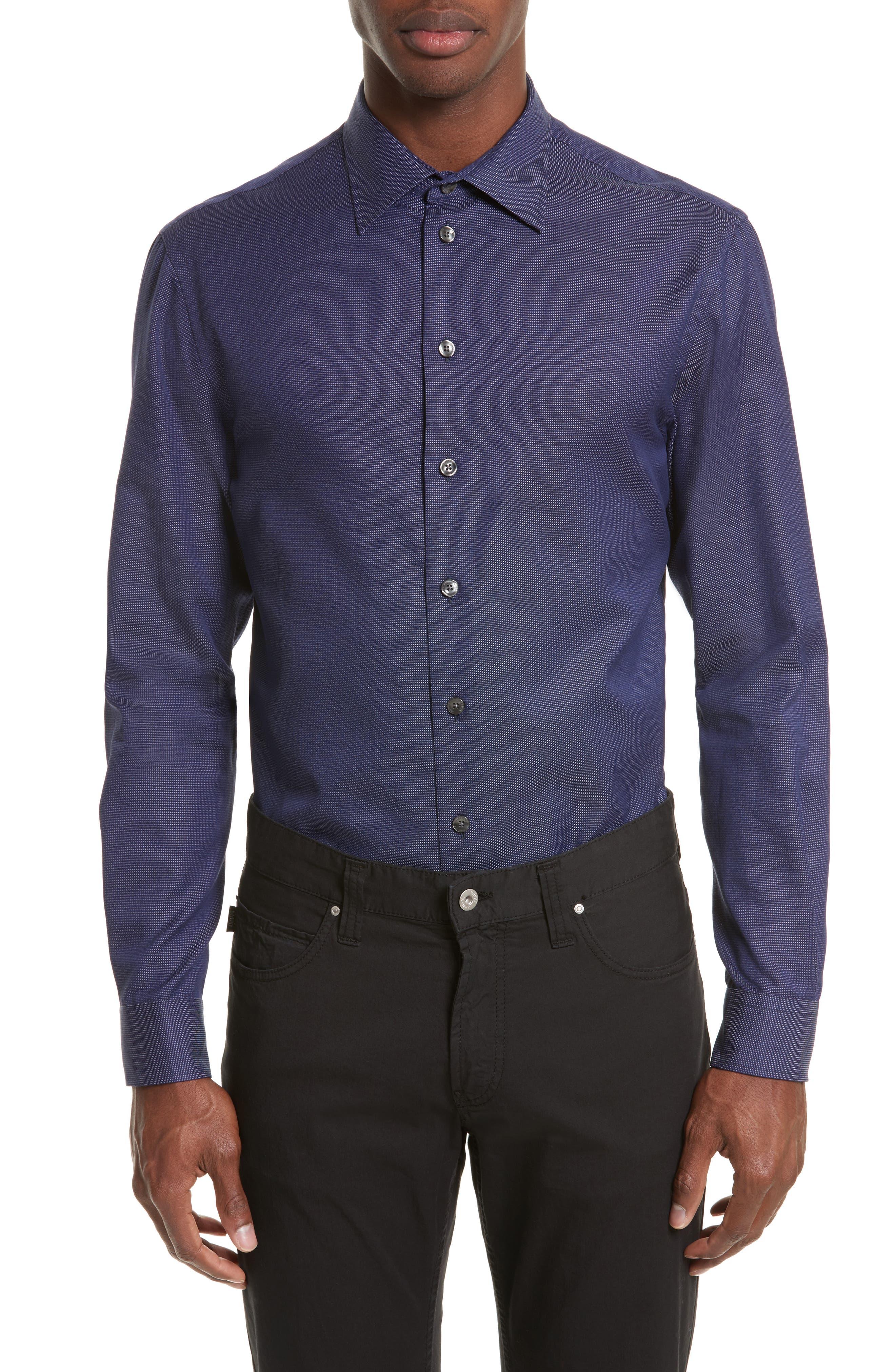 Regular Fit Pin Dot Print Sport Shirt,                         Main,                         color, 417