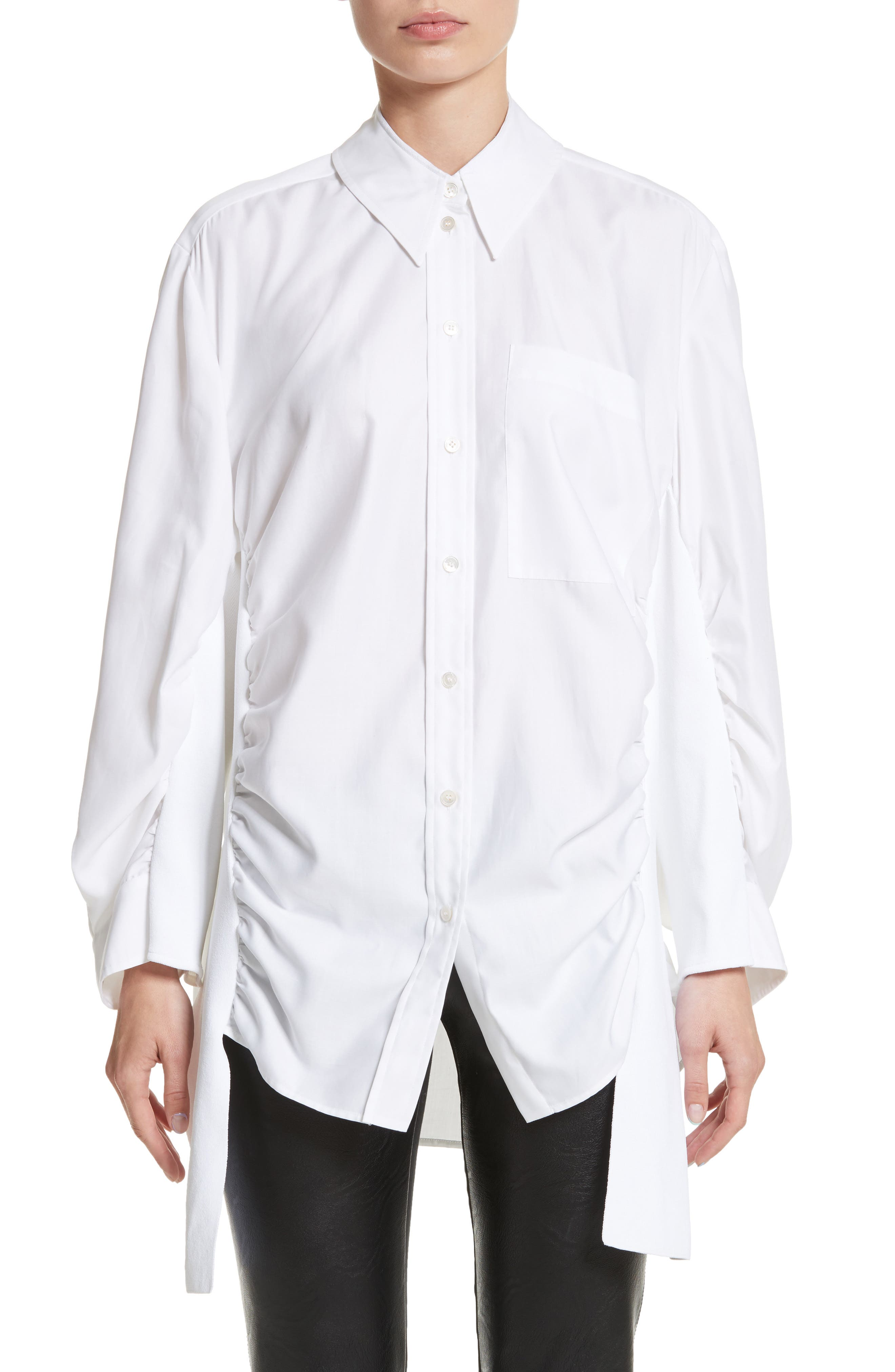 Tape Detail Cotton Shirt,                             Main thumbnail 1, color,                             100