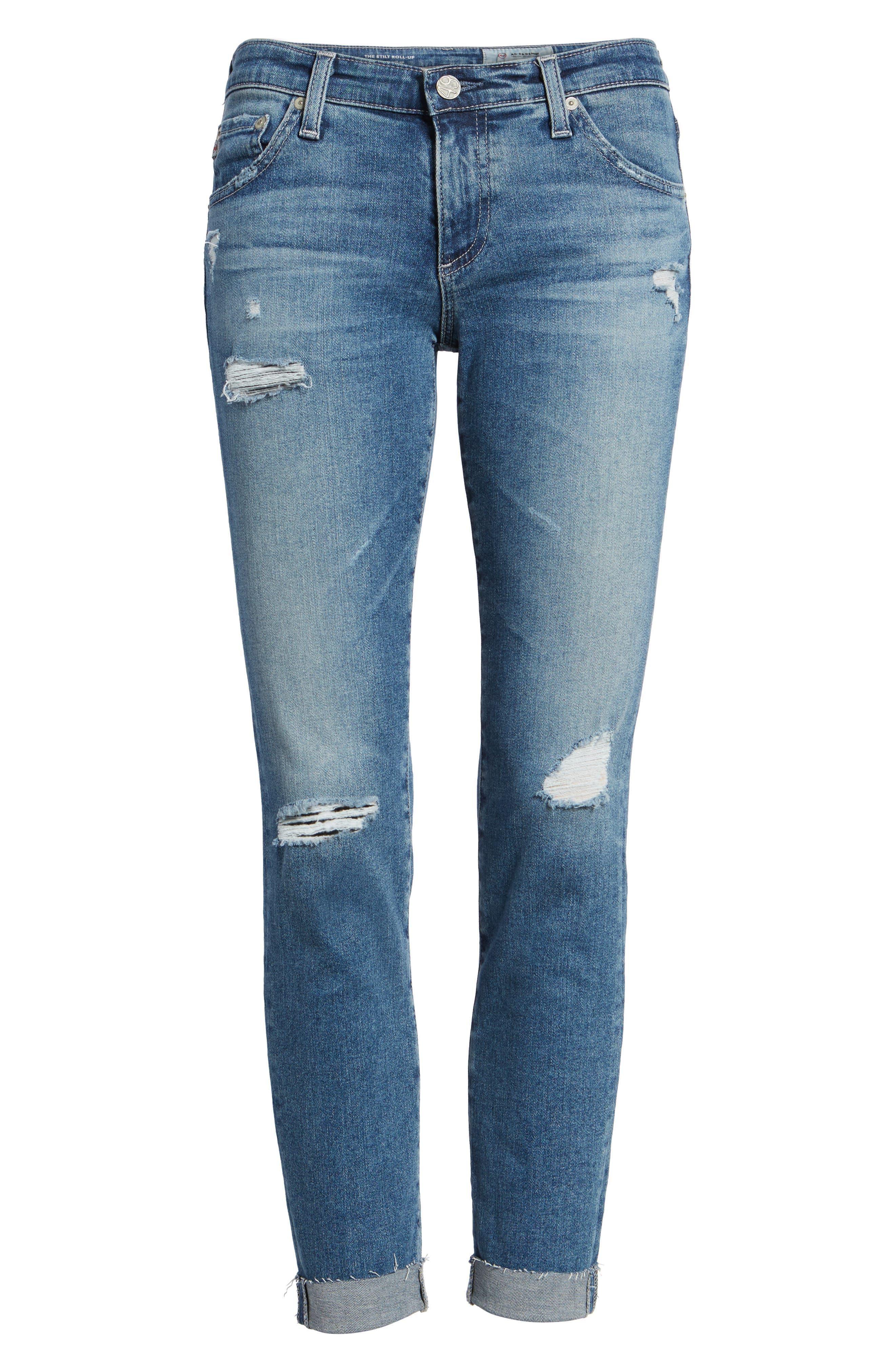 The Stilt Destructed Crop Skinny Jeans,                             Alternate thumbnail 7, color,
