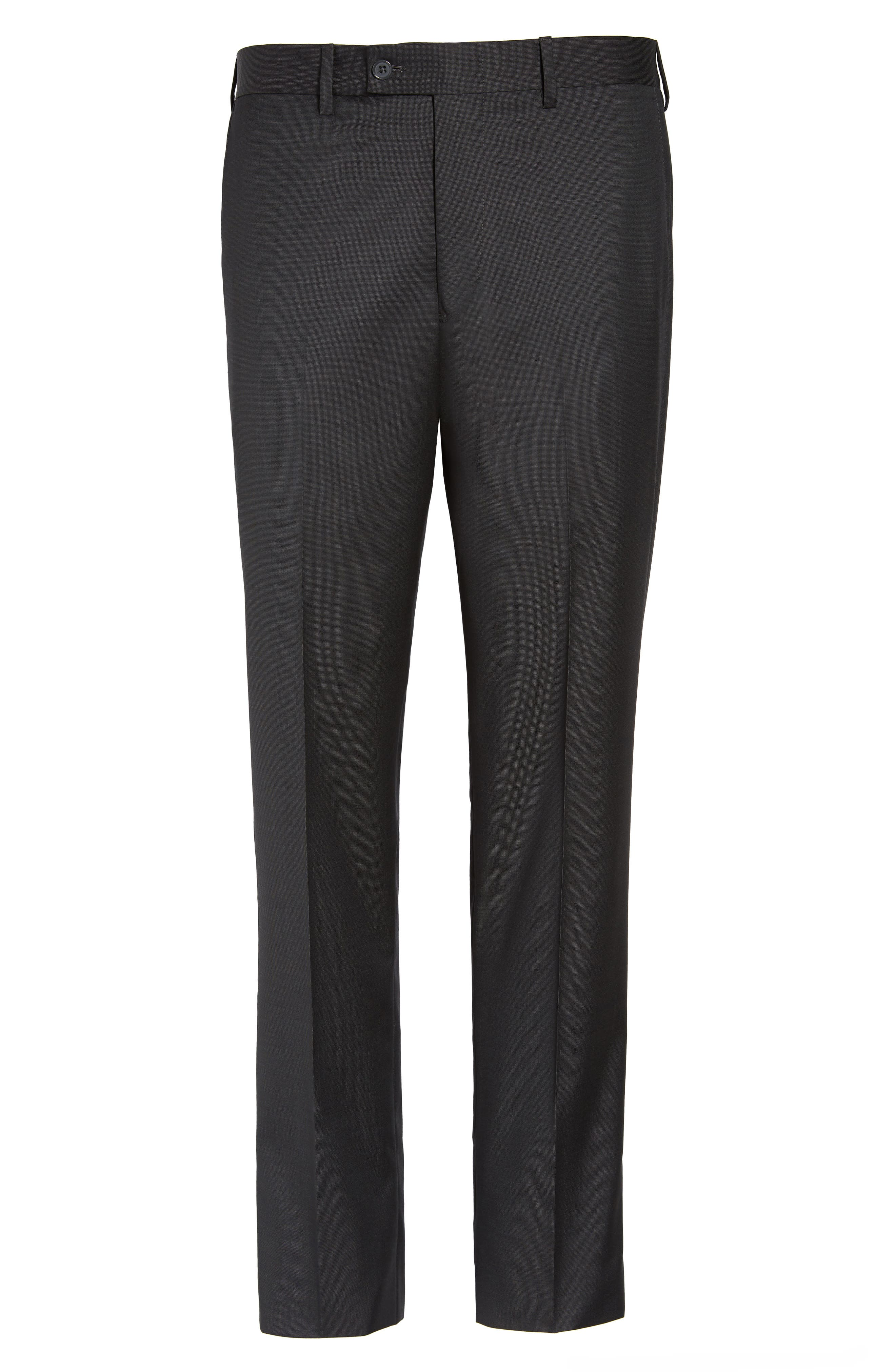 Flat Front Solid Wool Trousers,                             Alternate thumbnail 6, color,                             010