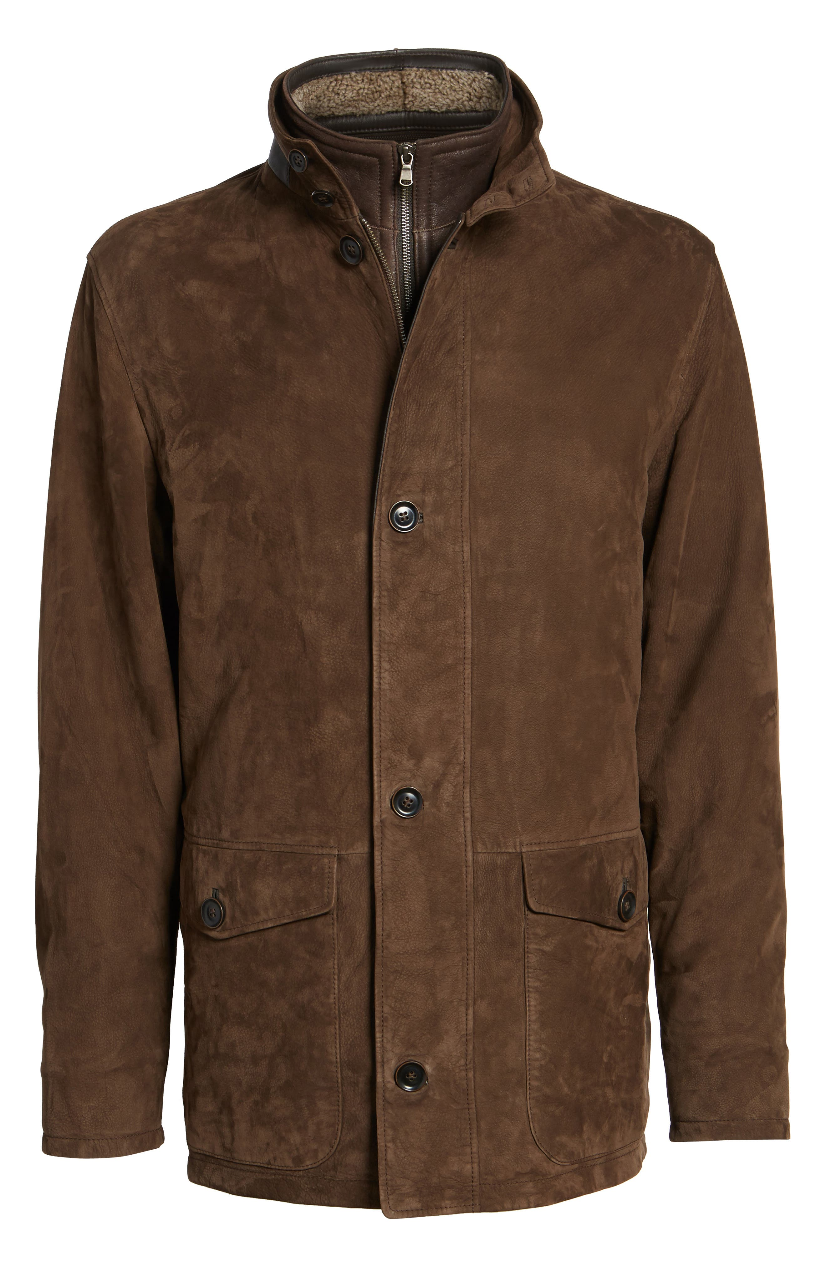 Steamboat Leather Jacket with Genuine Shearling Lined Bib,                             Alternate thumbnail 5, color,                             227