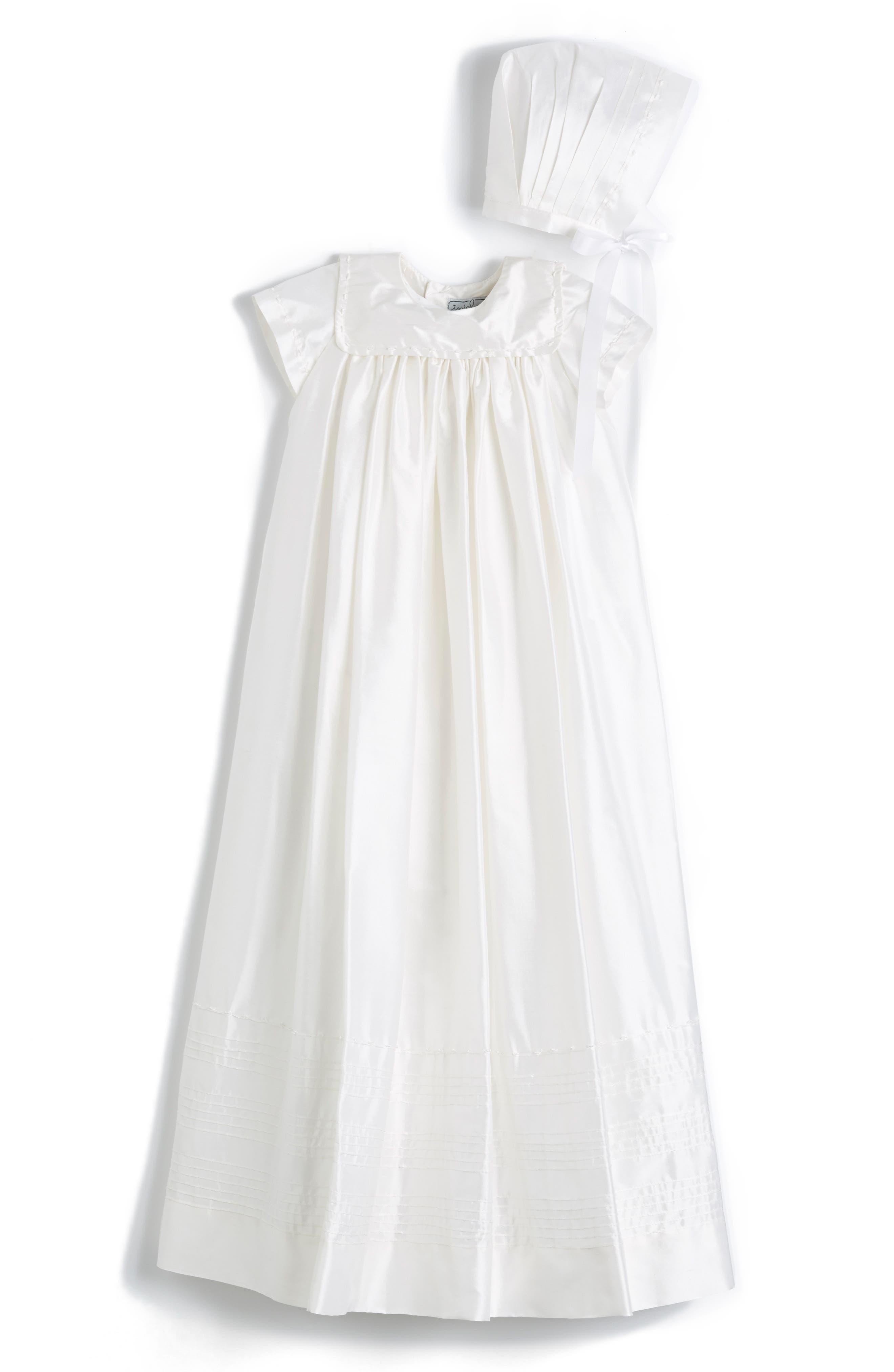 'Traditional' Silk Christening Gown & Bonnet,                             Alternate thumbnail 2, color,                             105