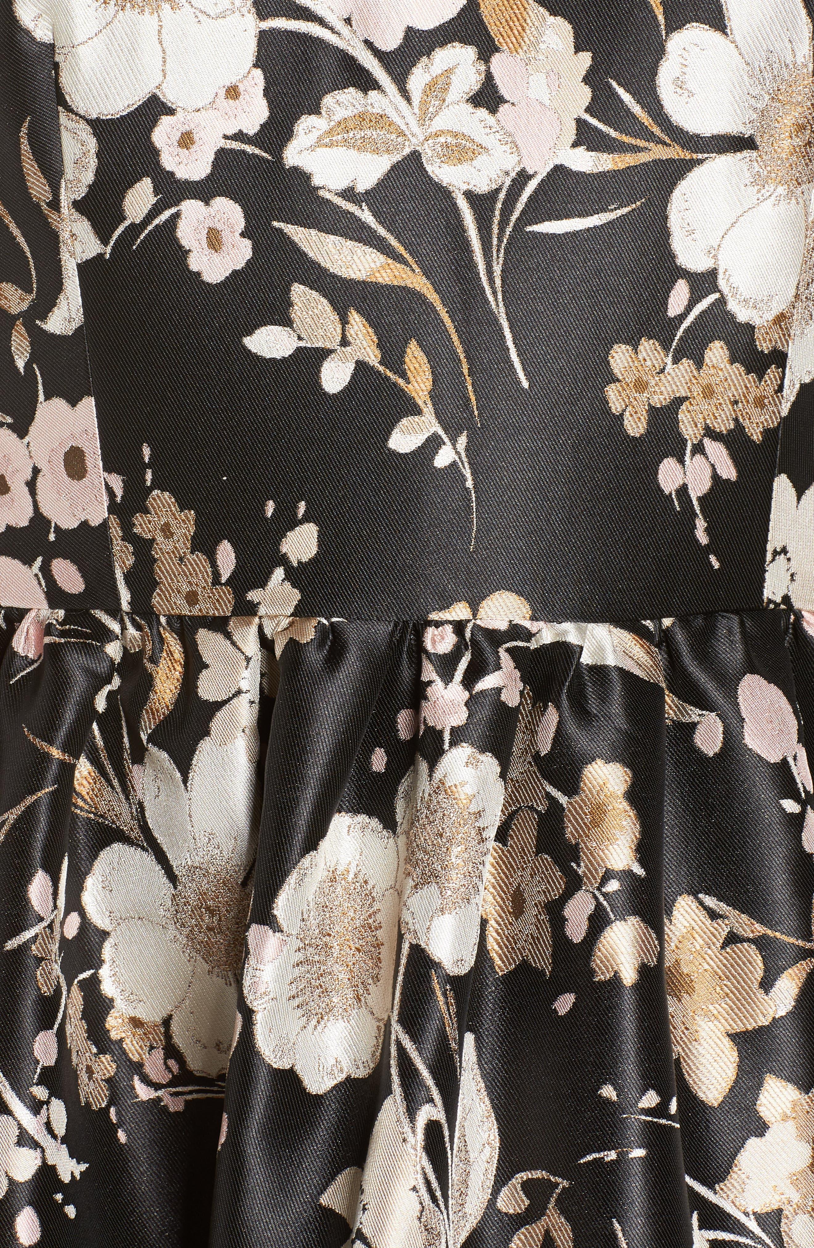ELIZA J,                             Floral Jacquard Fit & Flare Dress,                             Alternate thumbnail 6, color,                             BLACK WHITE