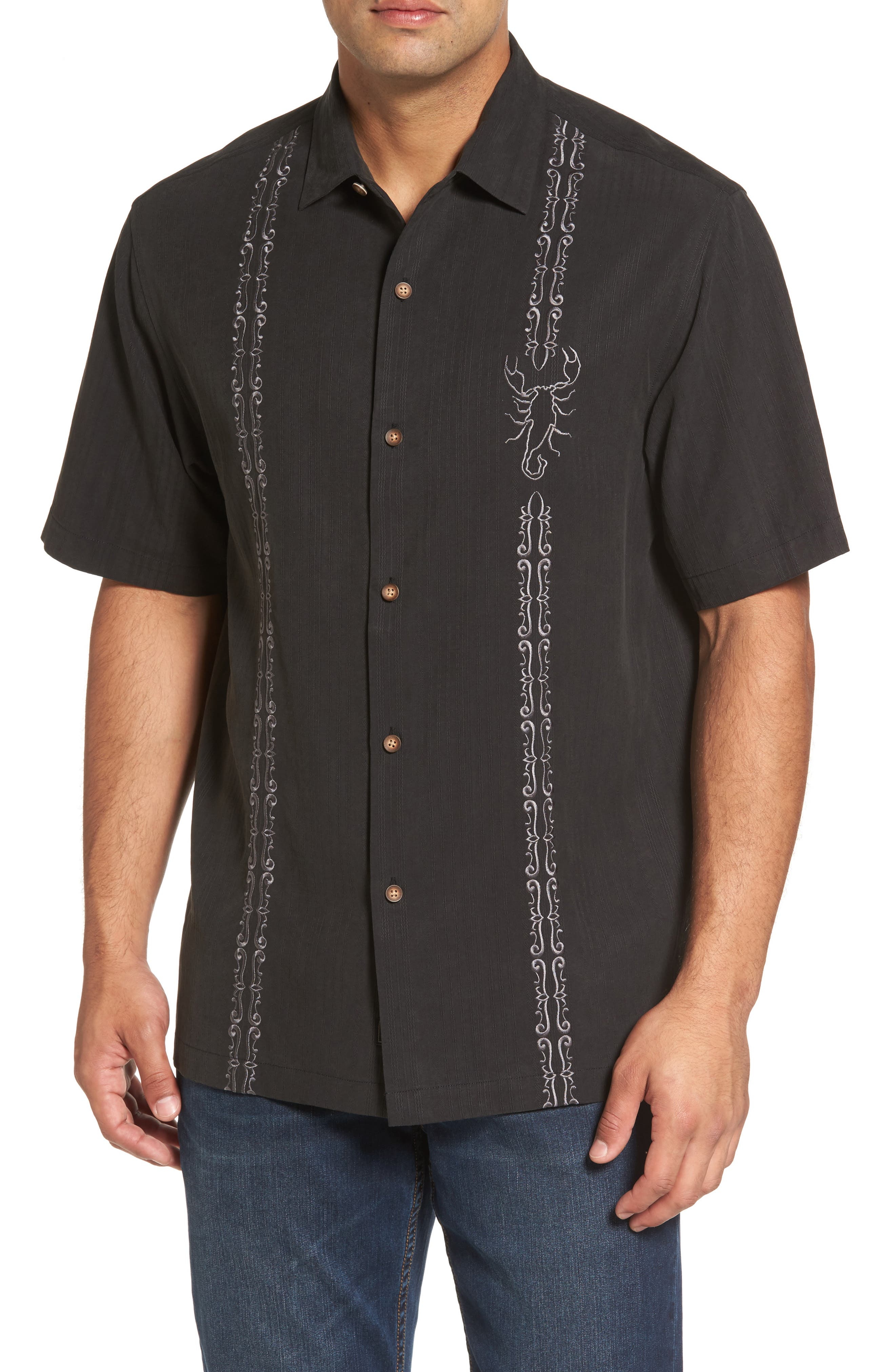 Drink Your Poison Embroidered Silk Woven Shirt,                         Main,                         color, 001
